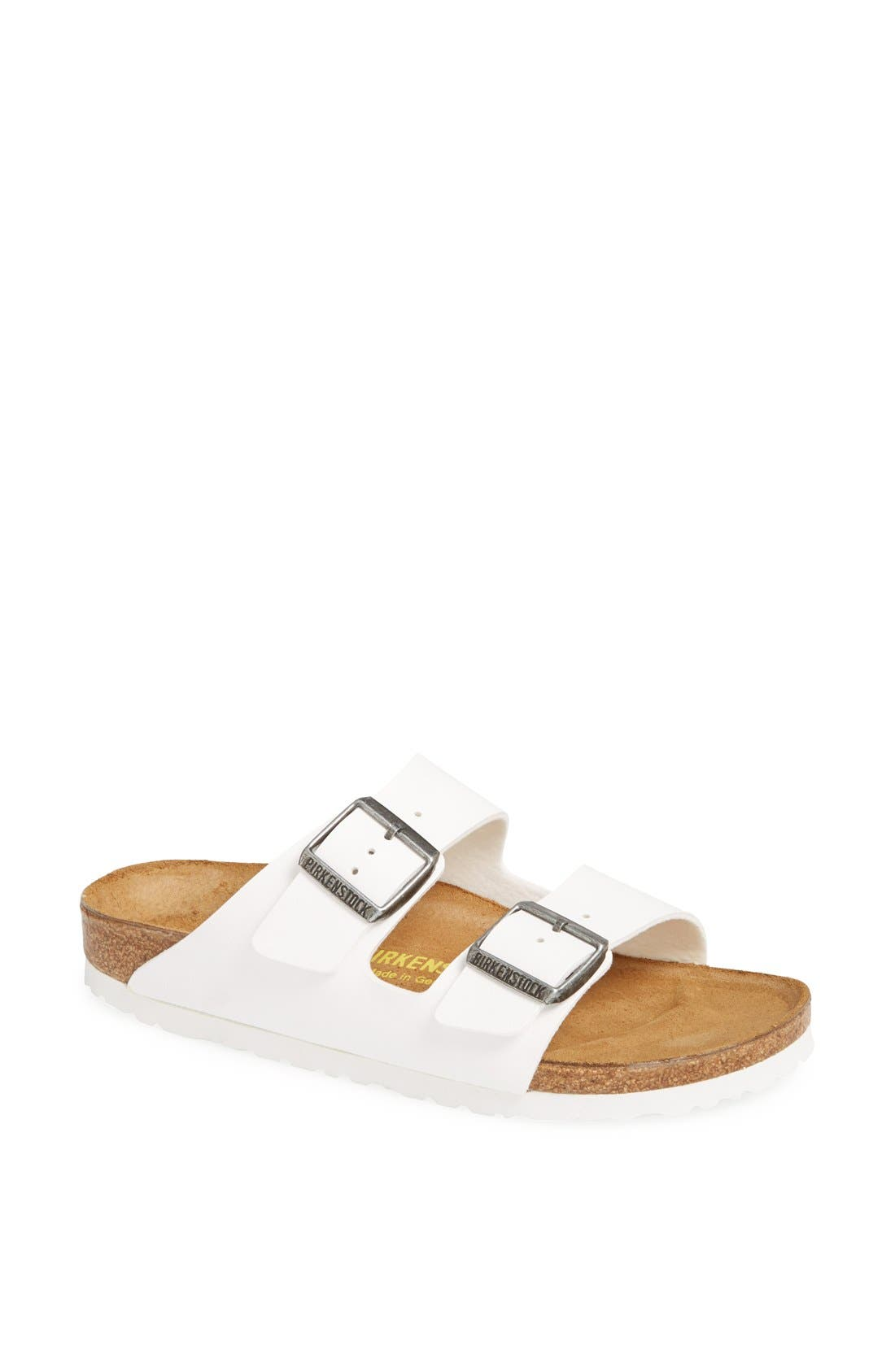 'Arizona' White Birko-Flor Sandal,                             Main thumbnail 1, color,                             WHITE SYNTHETIC LEATHER