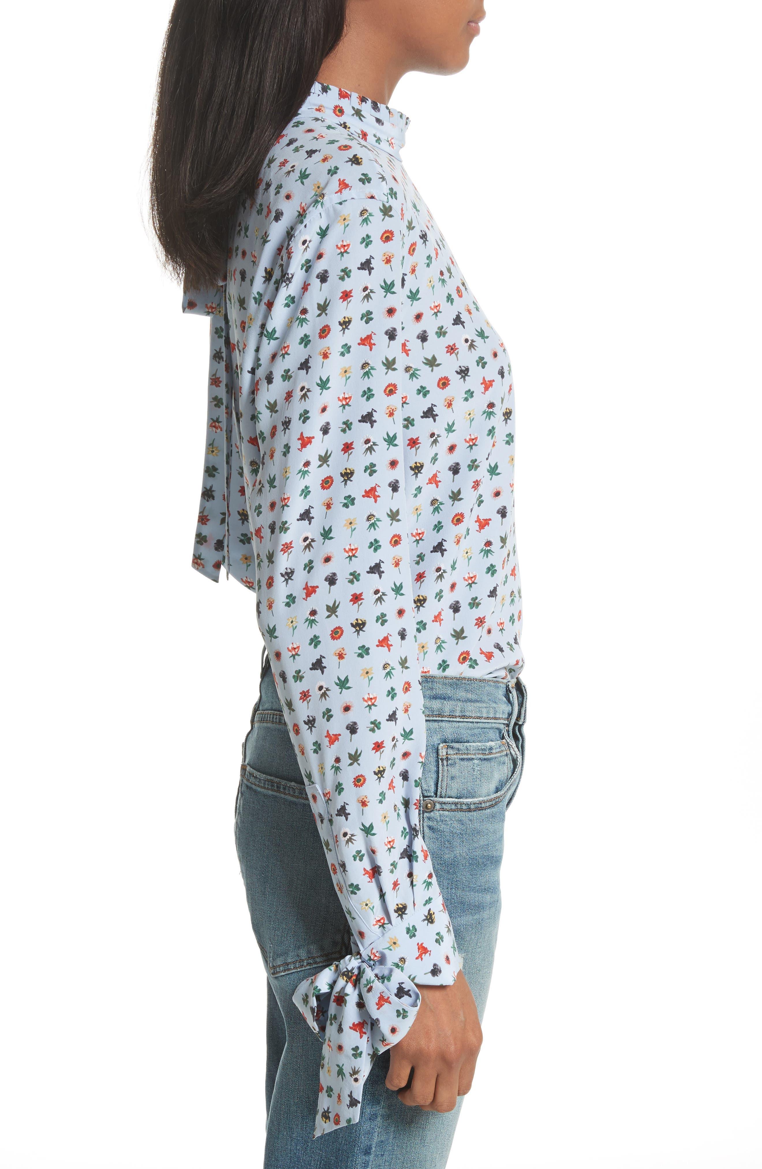 Aurora Tie Sleeve Floral Silk Blouse,                             Alternate thumbnail 6, color,