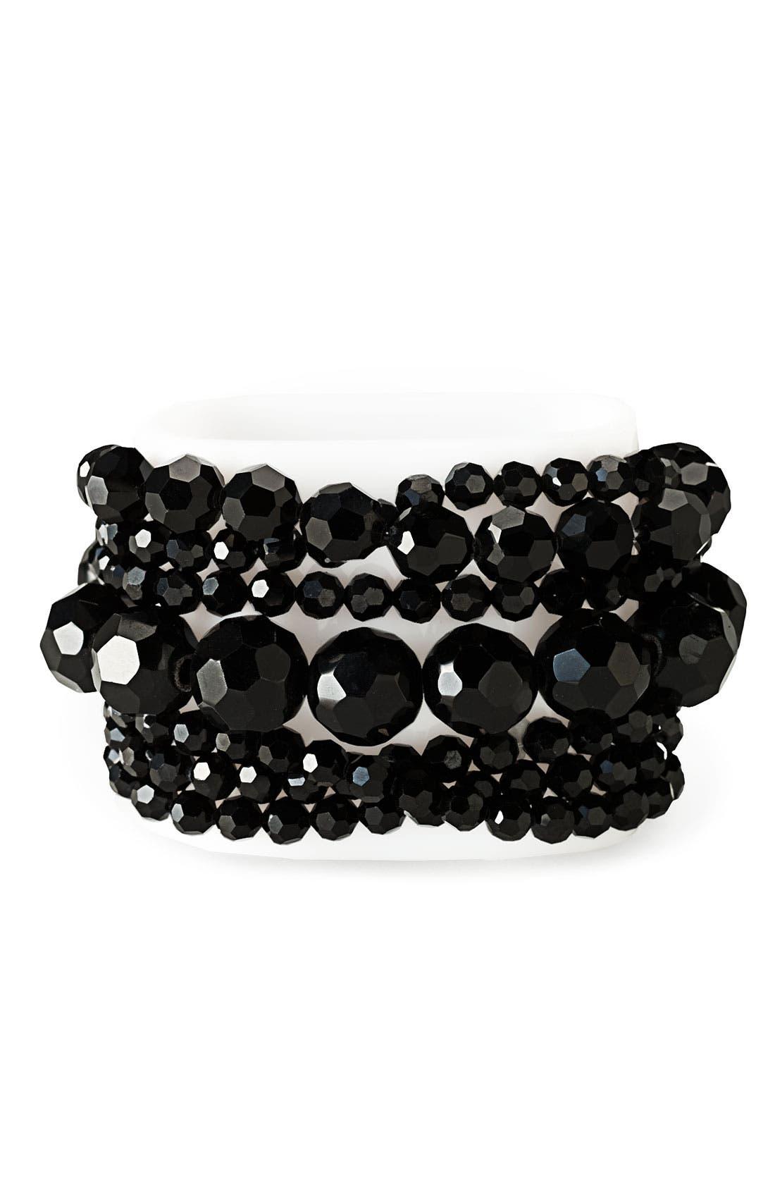 NORDSTROM Glass Stretch Pearl Bracelet, Main, color, 001