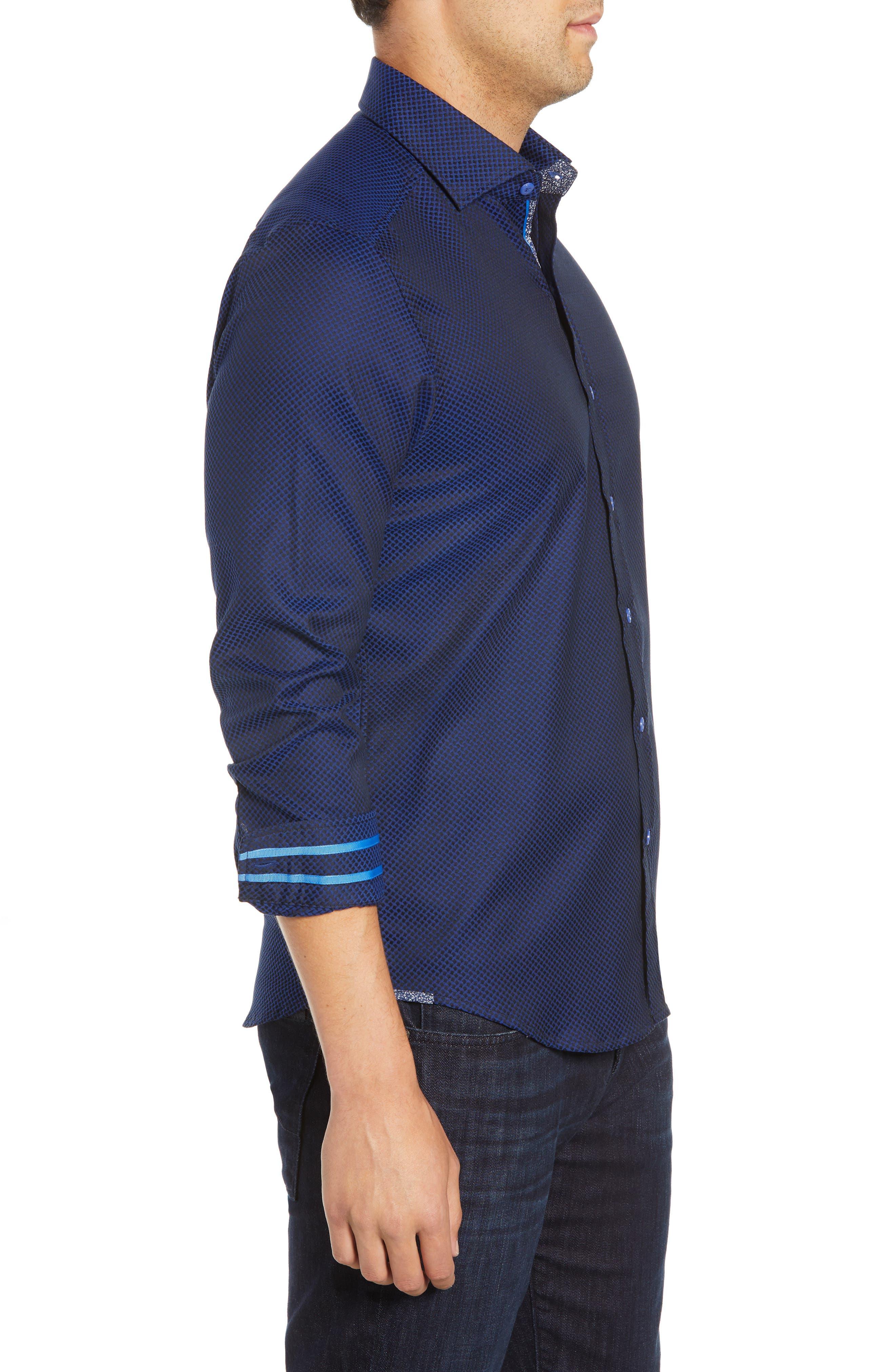 Anson Tailored Fit Jacquard Sport Shirt,                             Alternate thumbnail 4, color,                             NAVY