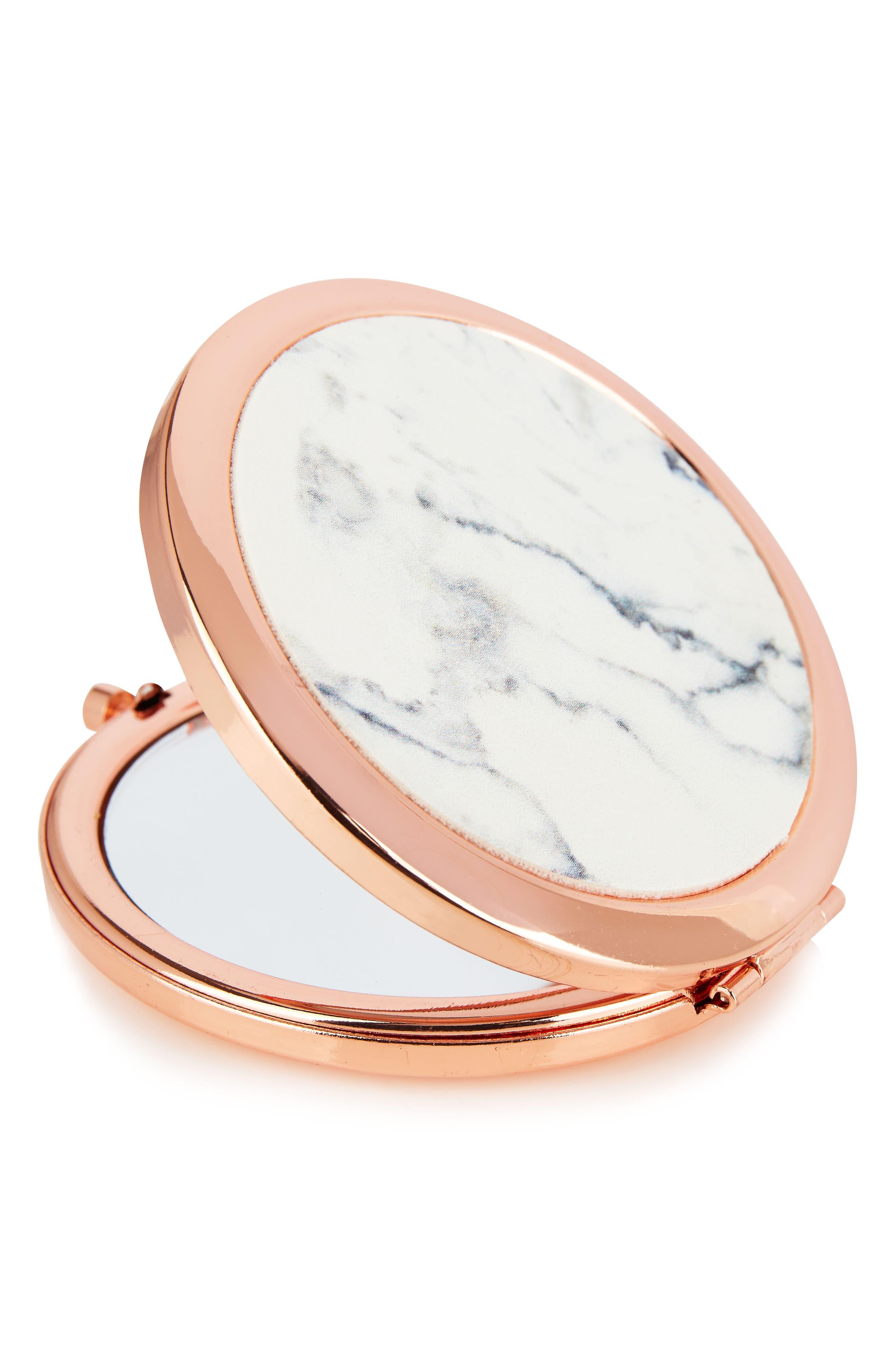 SKINNYDIP,                             Skinny Dip Marble Compact Mirror,                             Main thumbnail 1, color,                             000
