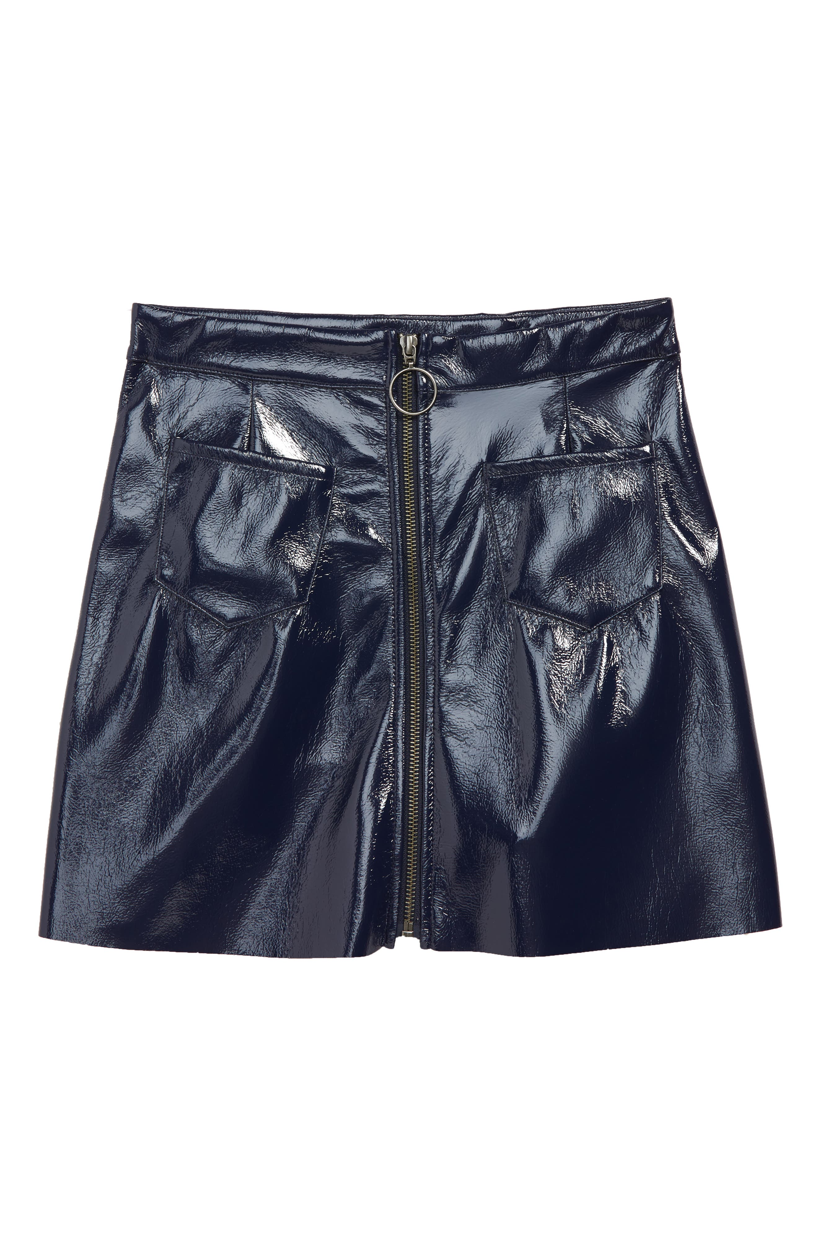 Faux Leather Zip Skirt,                             Main thumbnail 1, color,                             NAVY PEACOAT
