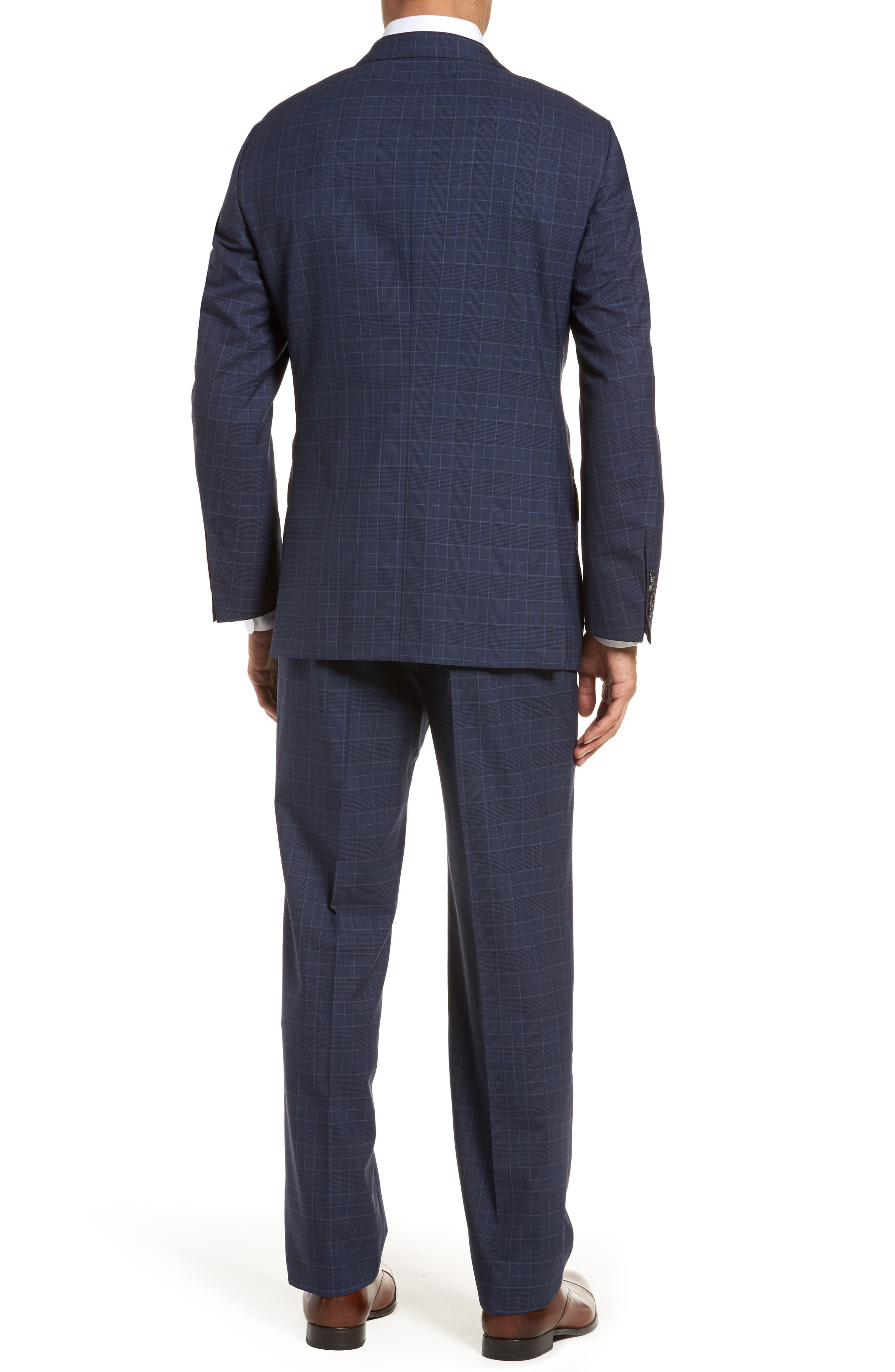 HICKEY FREEMAN,                             Classic B Fit Plaid Wool Suit,                             Alternate thumbnail 2, color,                             400