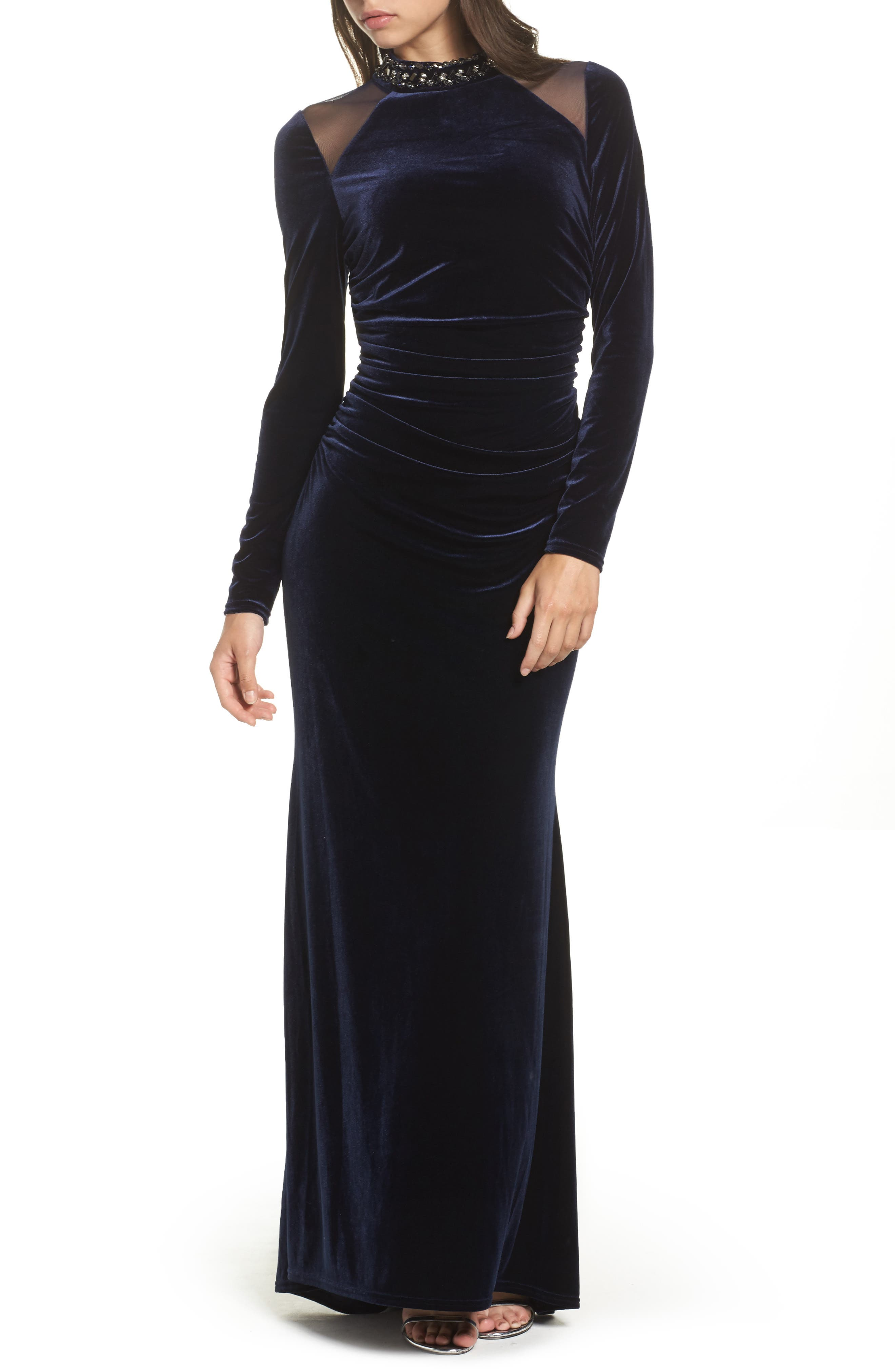 VINCE CAMUTO,                             Mesh Panel Embellished Velvet Gown,                             Main thumbnail 1, color,                             410