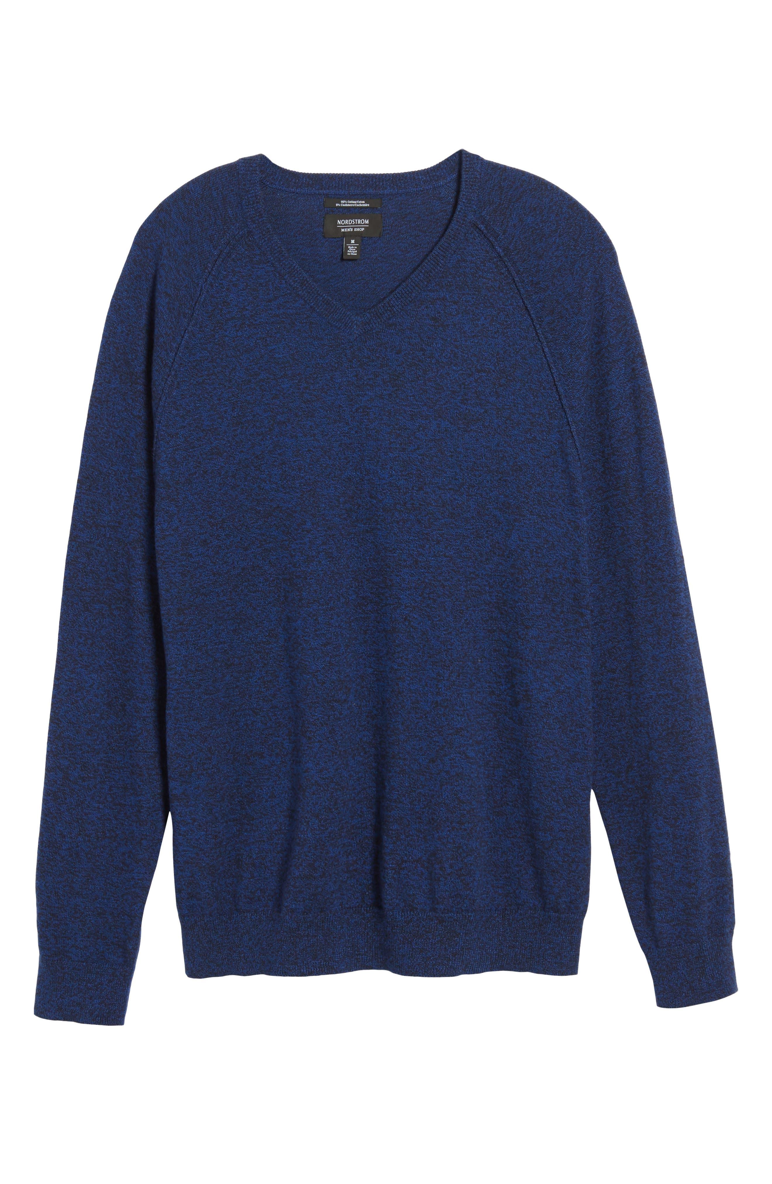 Saddle Shoulder Cotton & Cashmere V-Neck Sweater,                             Alternate thumbnail 46, color,