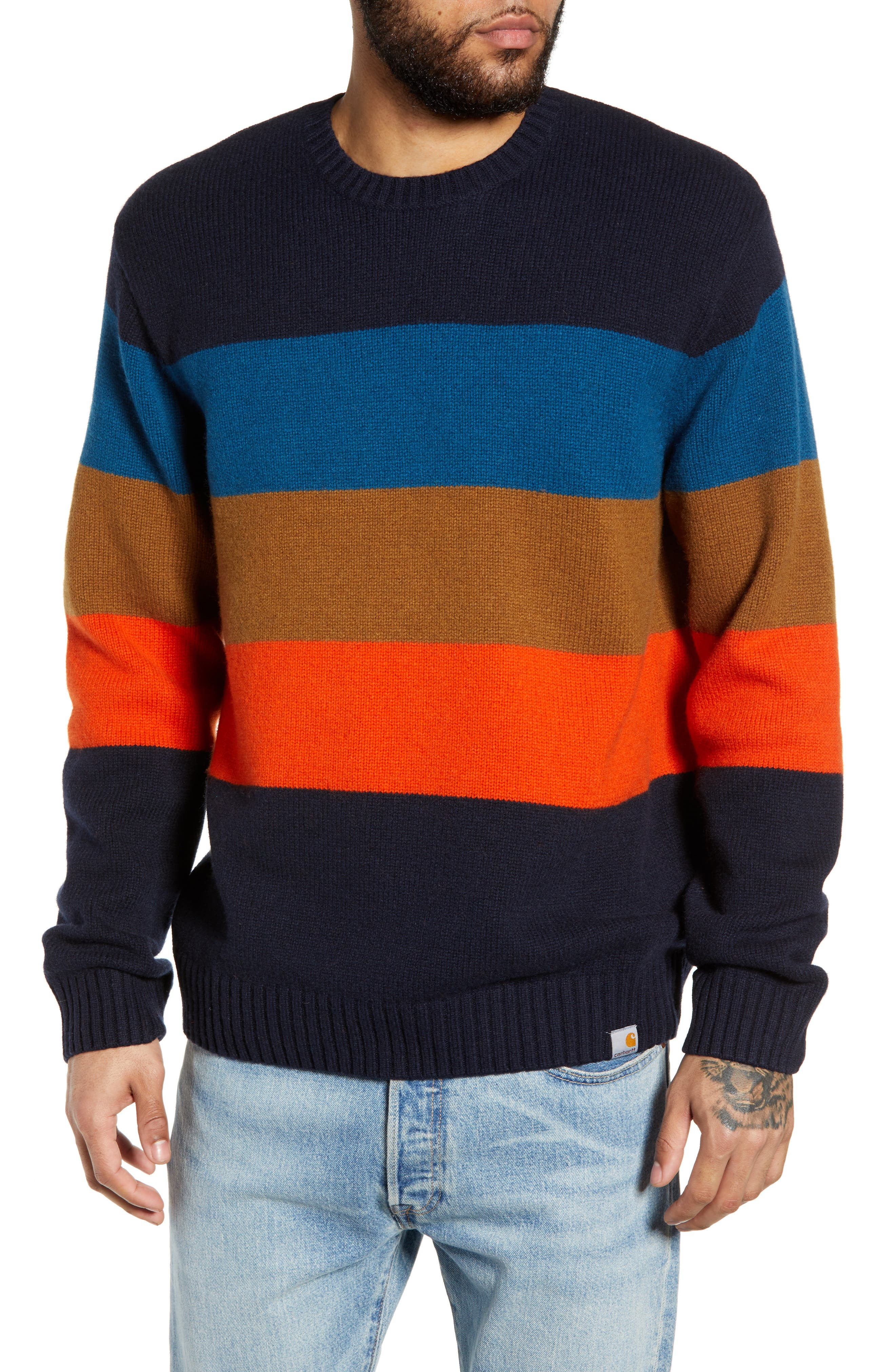 Goldner Stripe Wool Sweater,                             Main thumbnail 1, color,                             GOLD STRIPE DARK NAVY