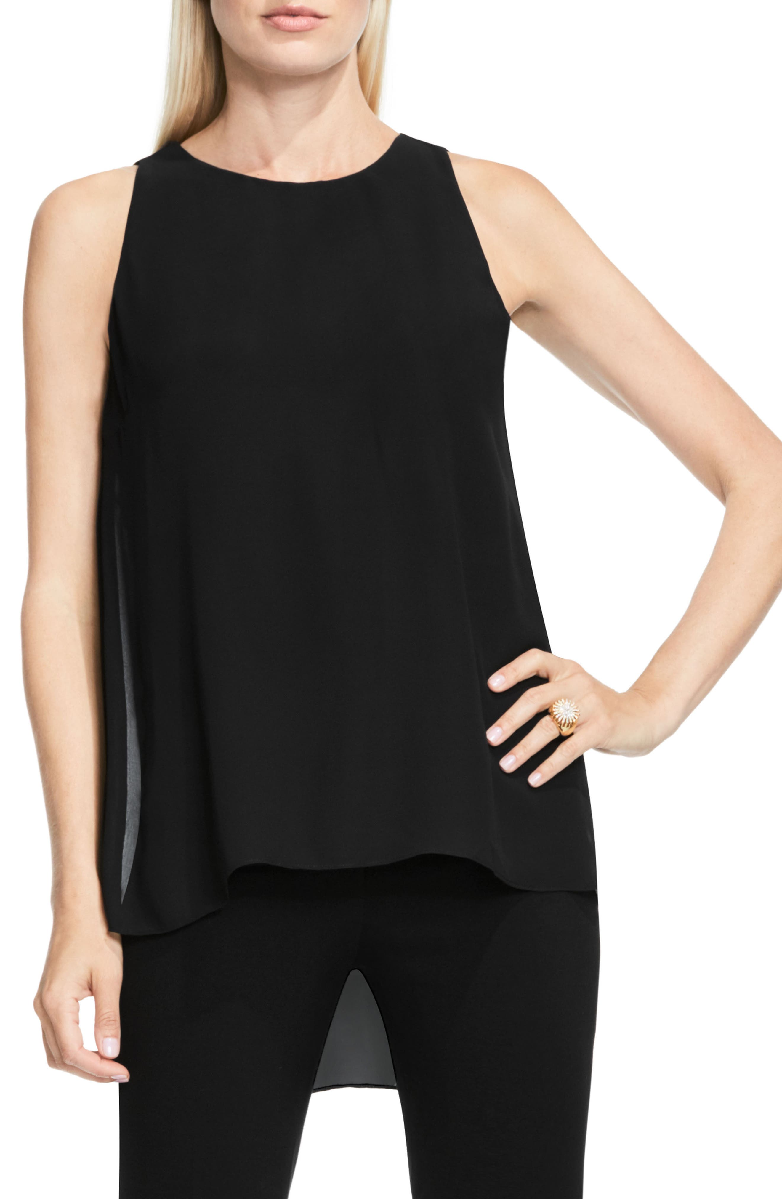 Sleeveless Crepe High/Low Top,                             Alternate thumbnail 2, color,                             006