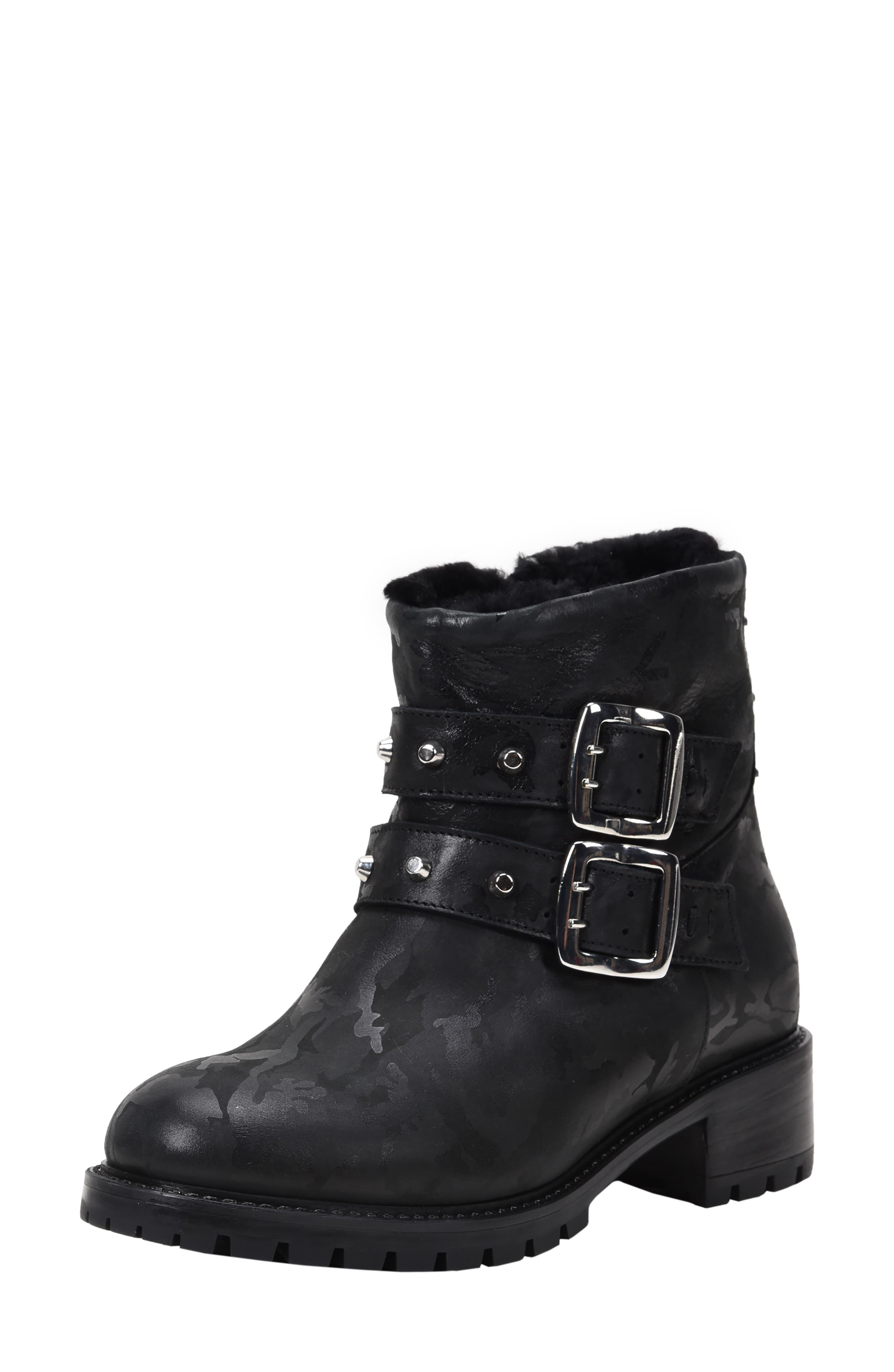 Stefana SP Genuine Shearling Lined Waterproof Bootie,                             Main thumbnail 1, color,                             BLACK CAMO LEATHER