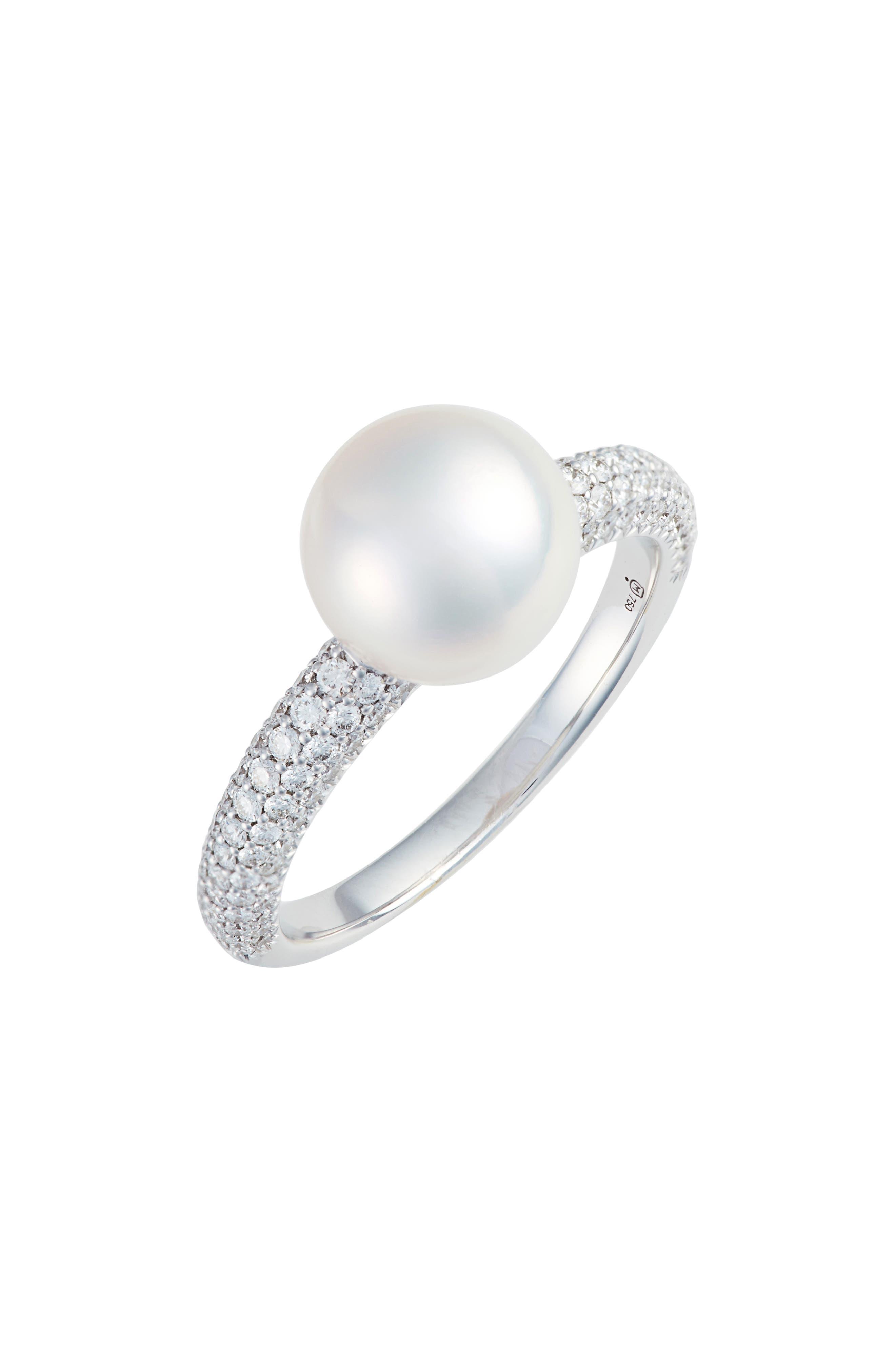 MIKIMOTO Pearl & Diamond Ring in Gray