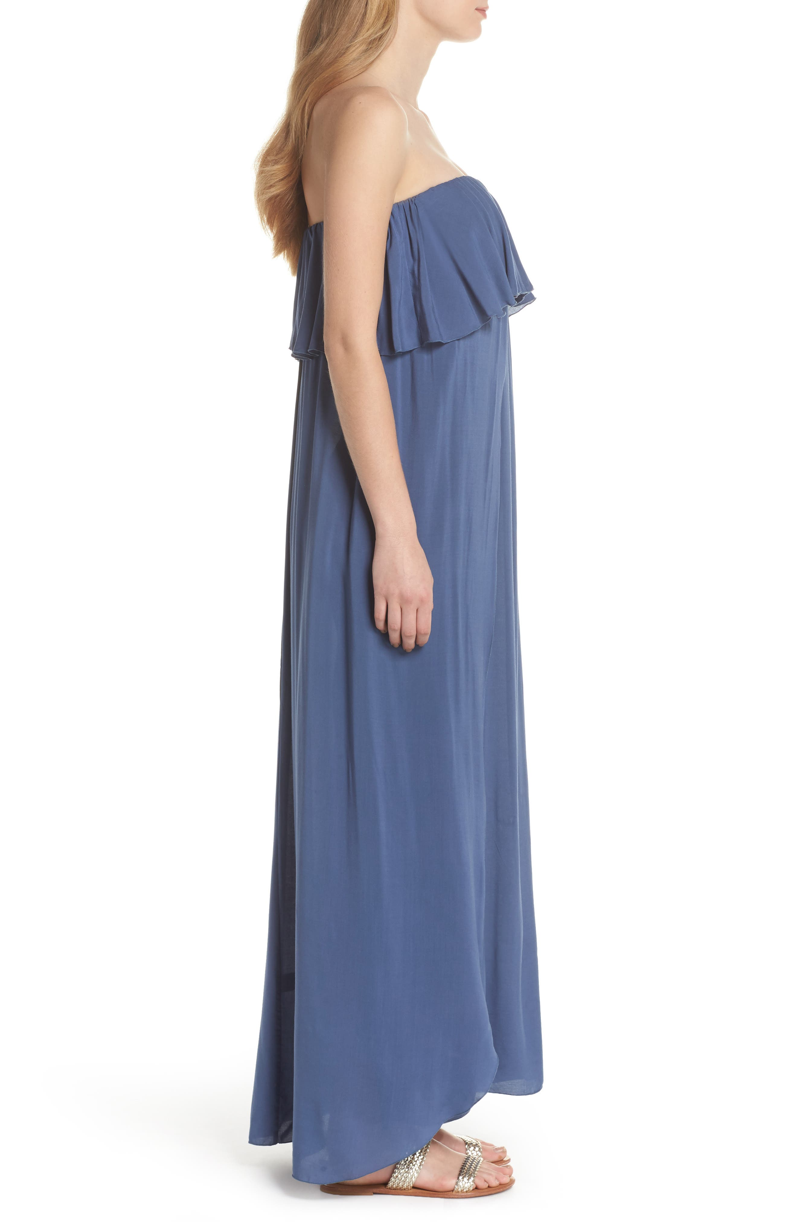 Strapless Maxi Cover-Up Dress,                             Alternate thumbnail 3, color,