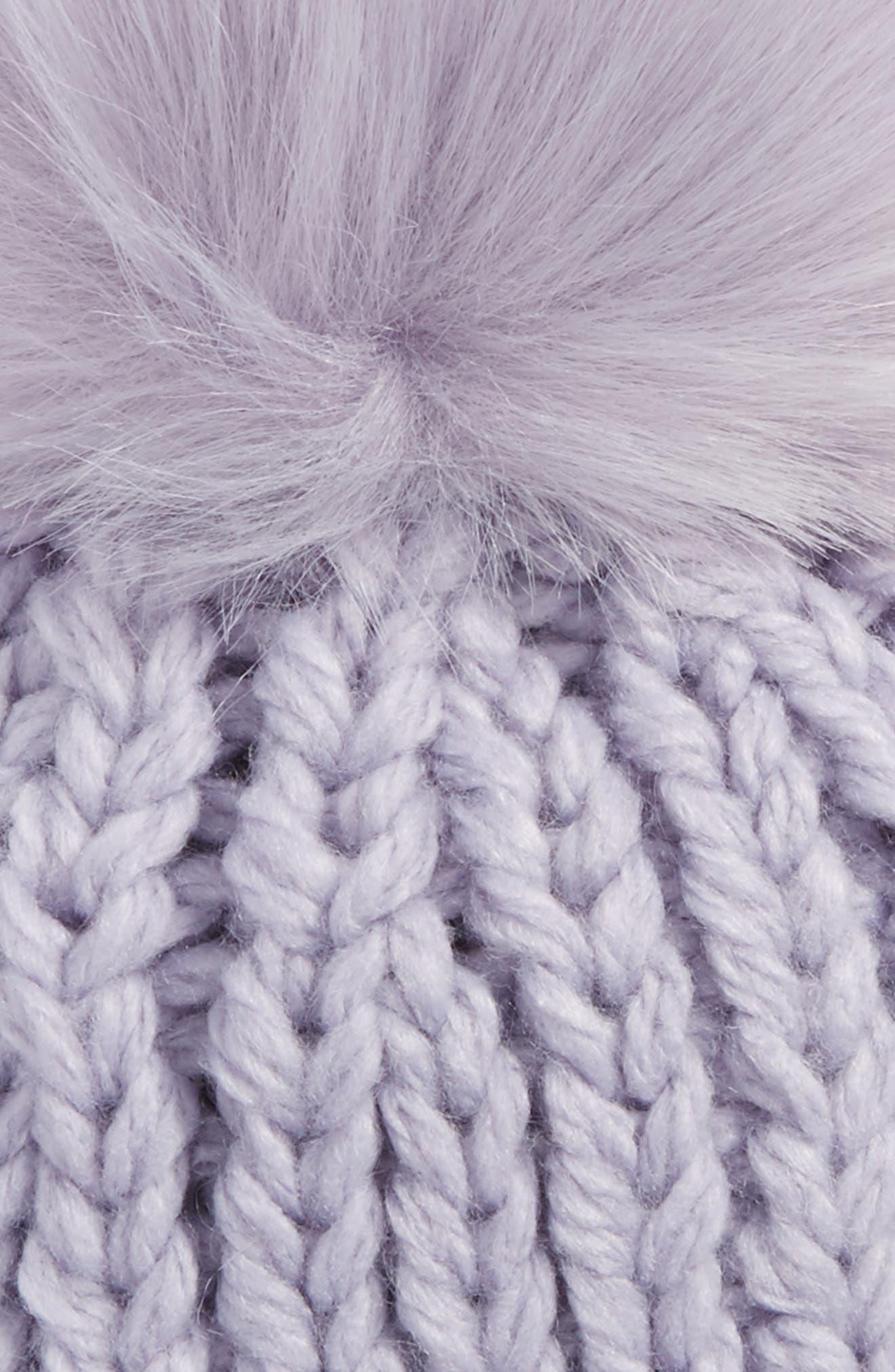 Happy Trails Faux Fur Pom Beanie,                             Alternate thumbnail 6, color,