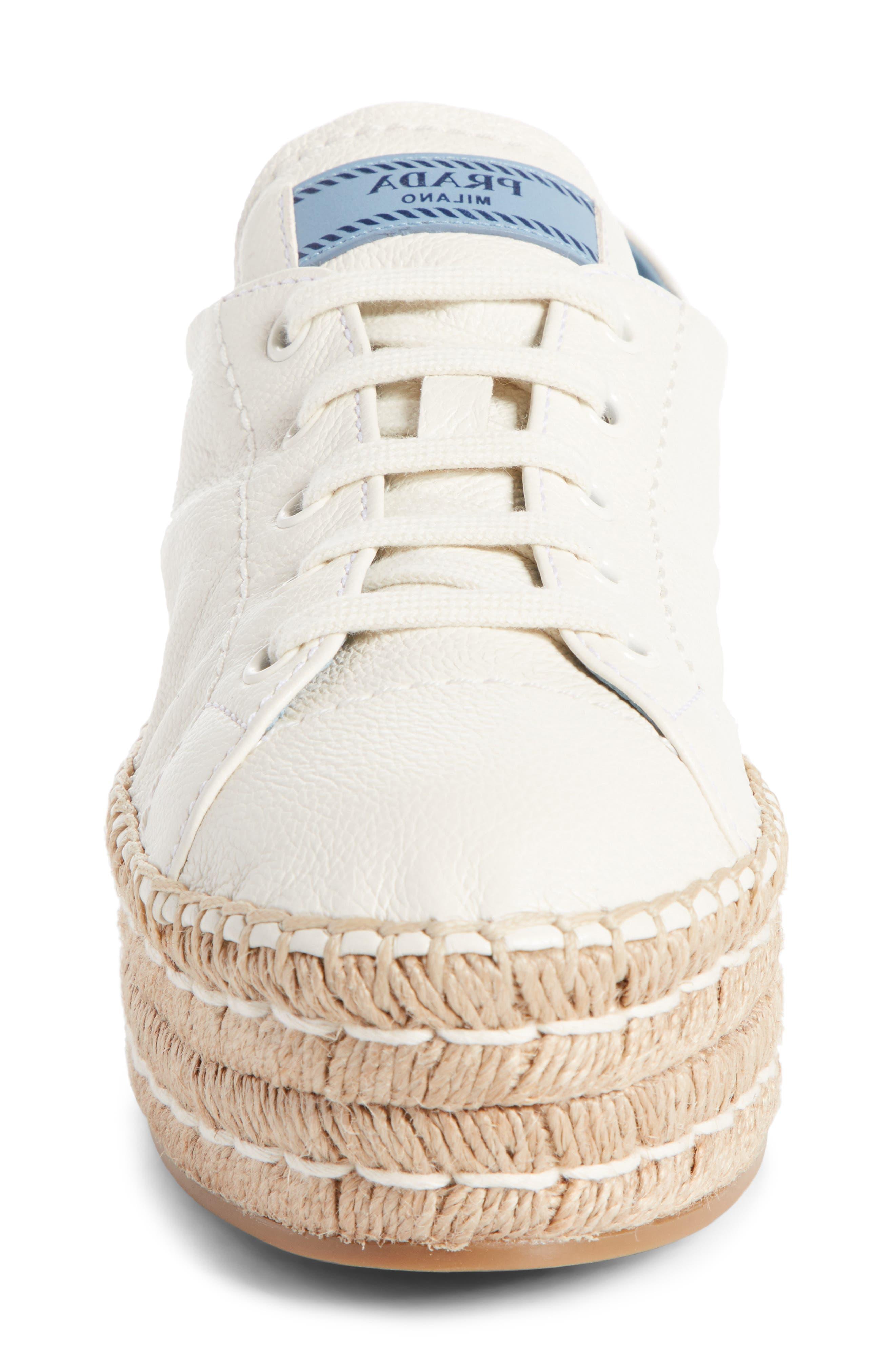 PRADA,                             Flatform Espadrille Sneaker,                             Alternate thumbnail 4, color,                             WHITE