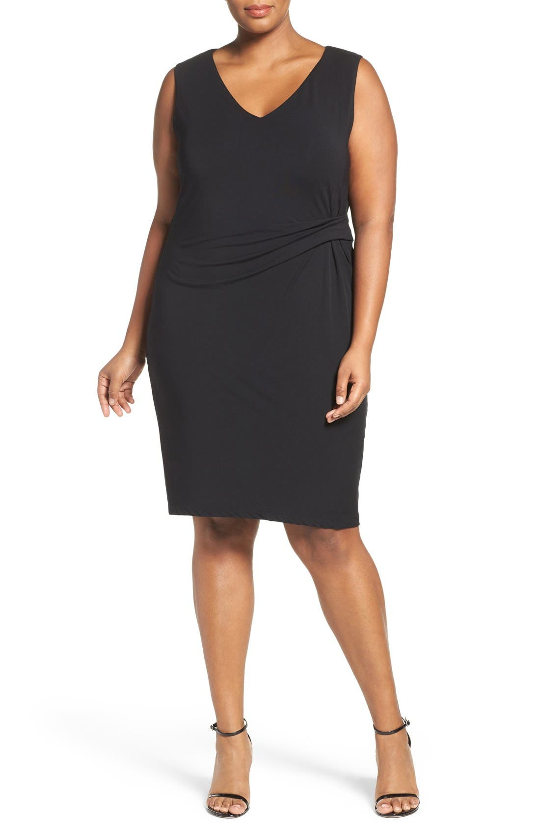Margaux Twist Front Sheath Dress,                             Alternate thumbnail 4, color,                             001