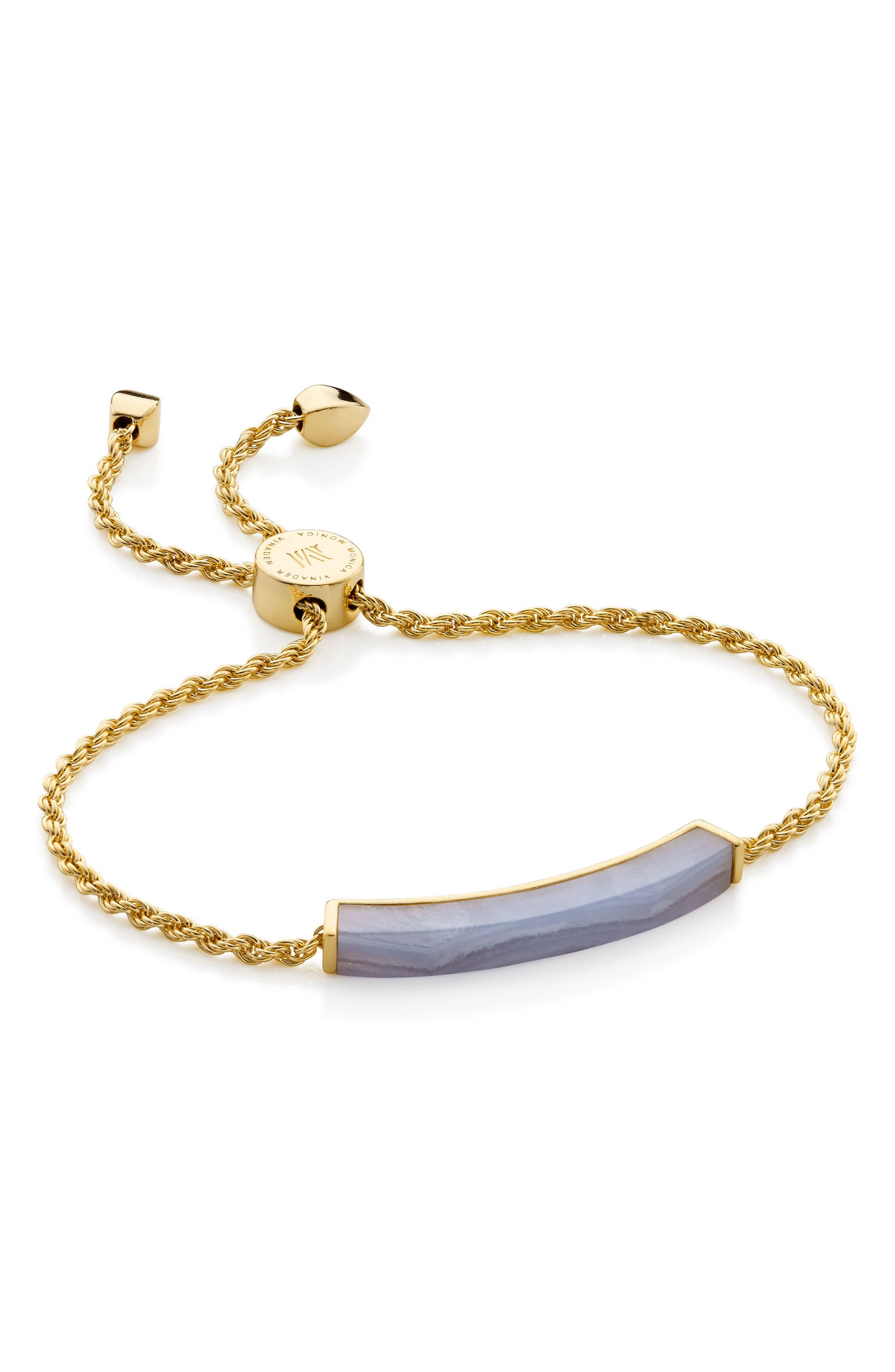 Linear Semiprecious Stone Friendship Bracelet,                             Main thumbnail 1, color,                             GOLD/ BLUE LACE AGATE
