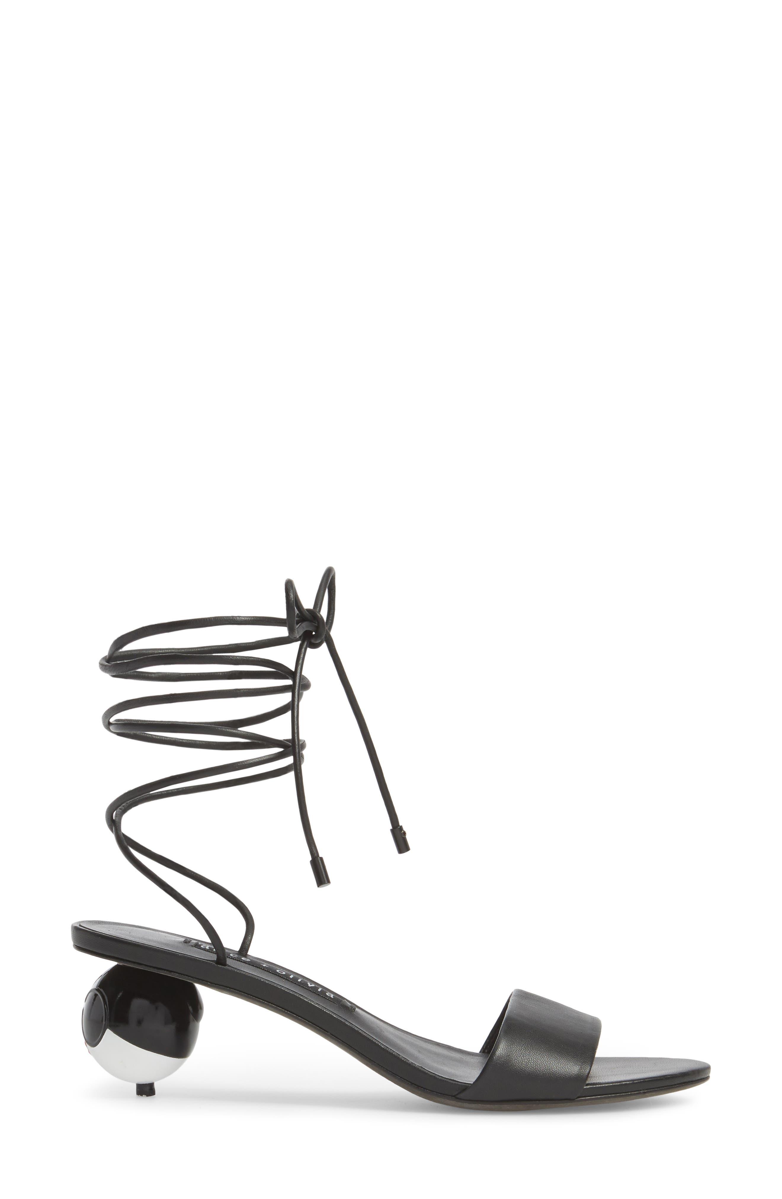 Coraline Ankle Tie Sandal,                             Alternate thumbnail 3, color,                             001