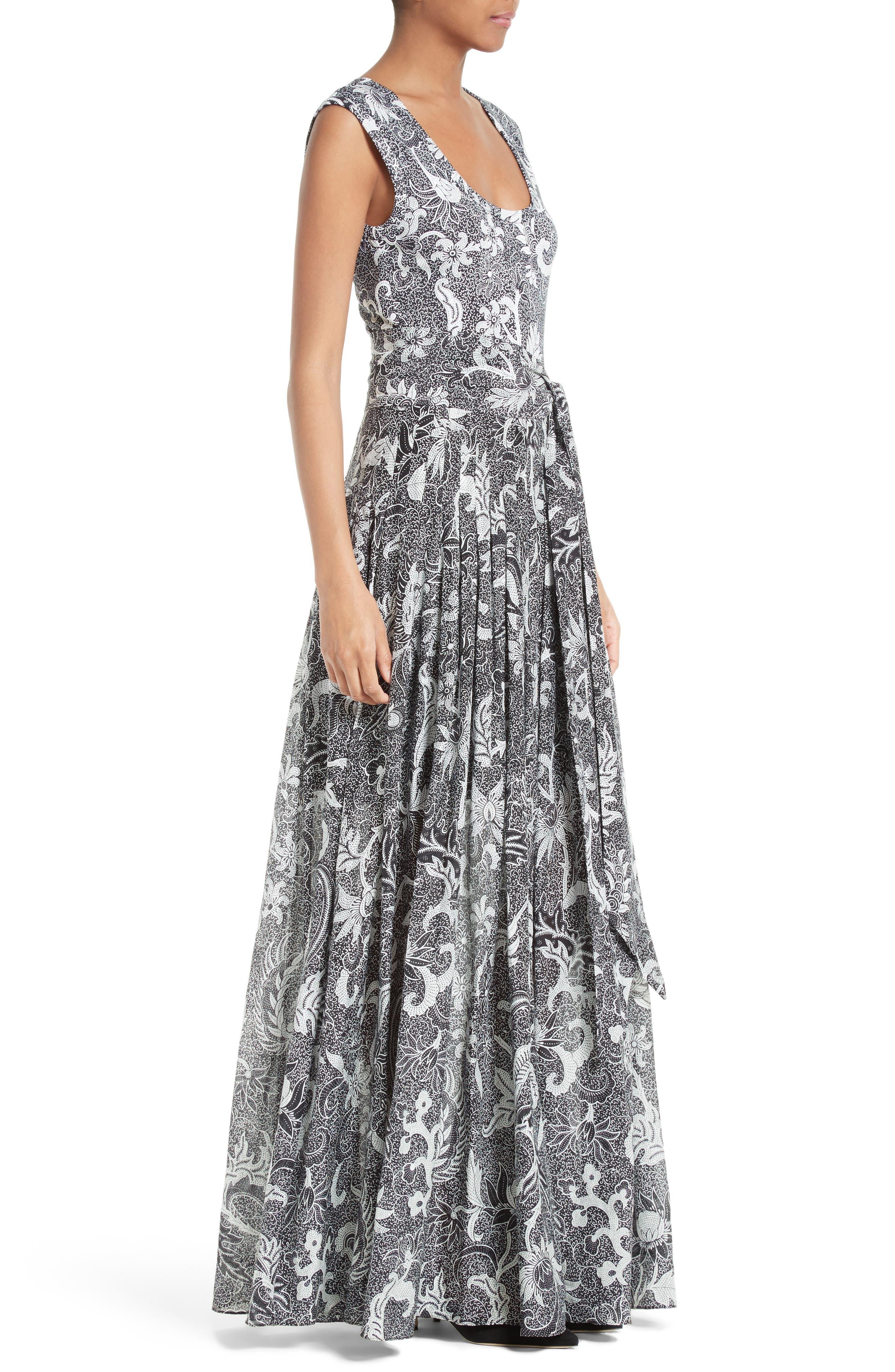 Cotton & Silk Maxi Dress,                             Alternate thumbnail 3, color,