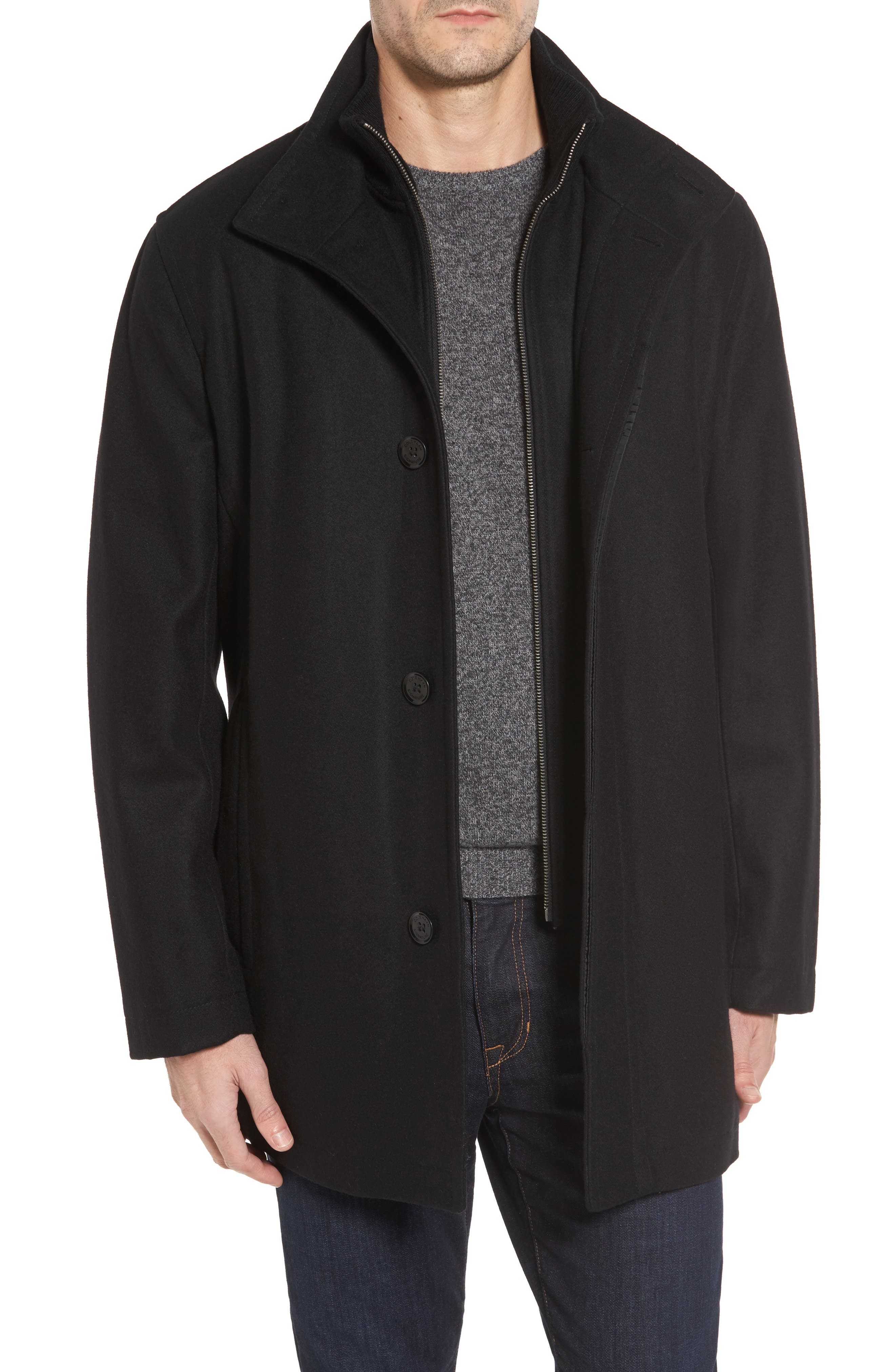 Melton Wool Blend Coat,                         Main,                         color, BLACK