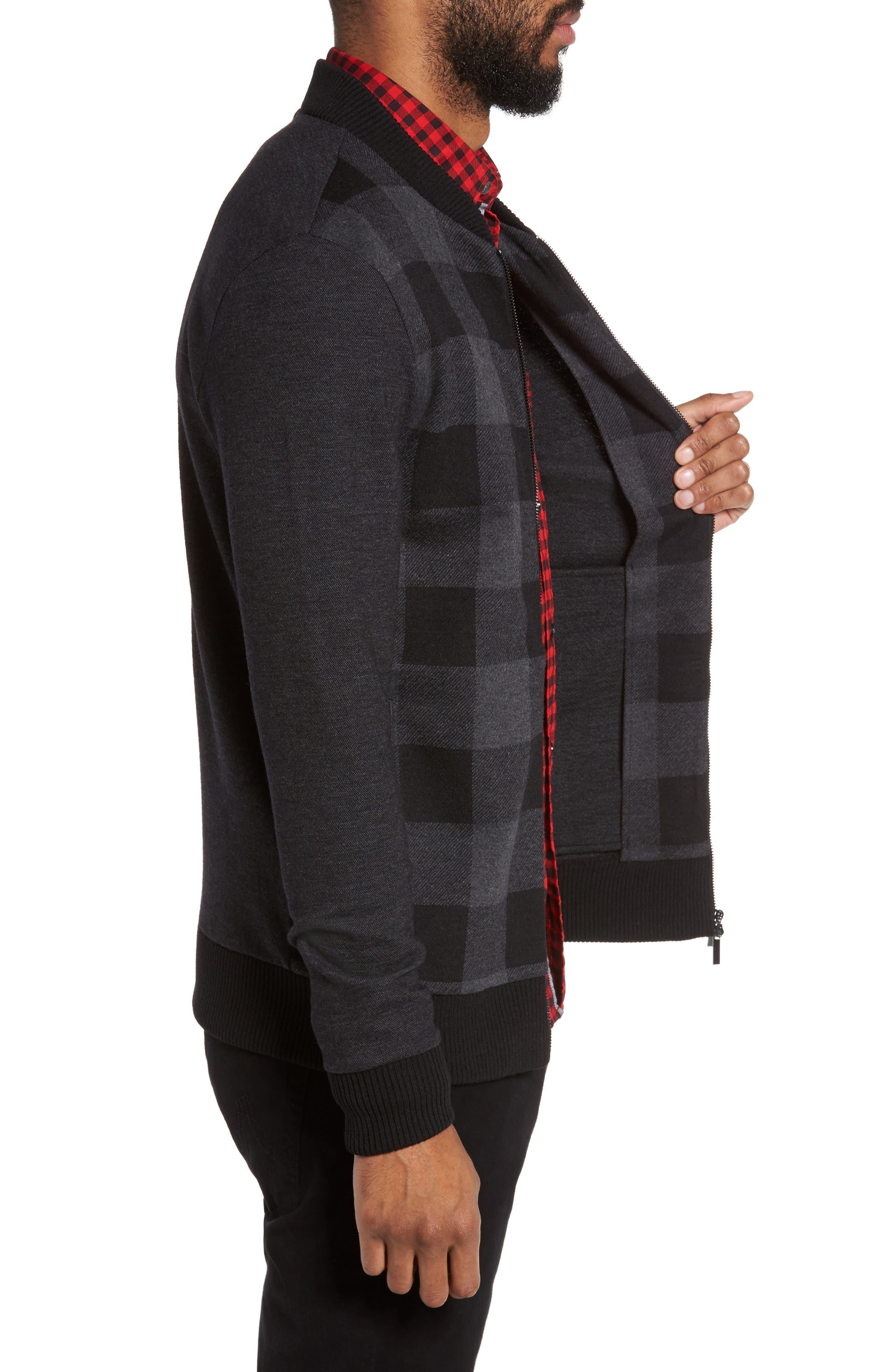 Salea Check Wool Blend Bomber Jacket,                             Alternate thumbnail 3, color,                             001