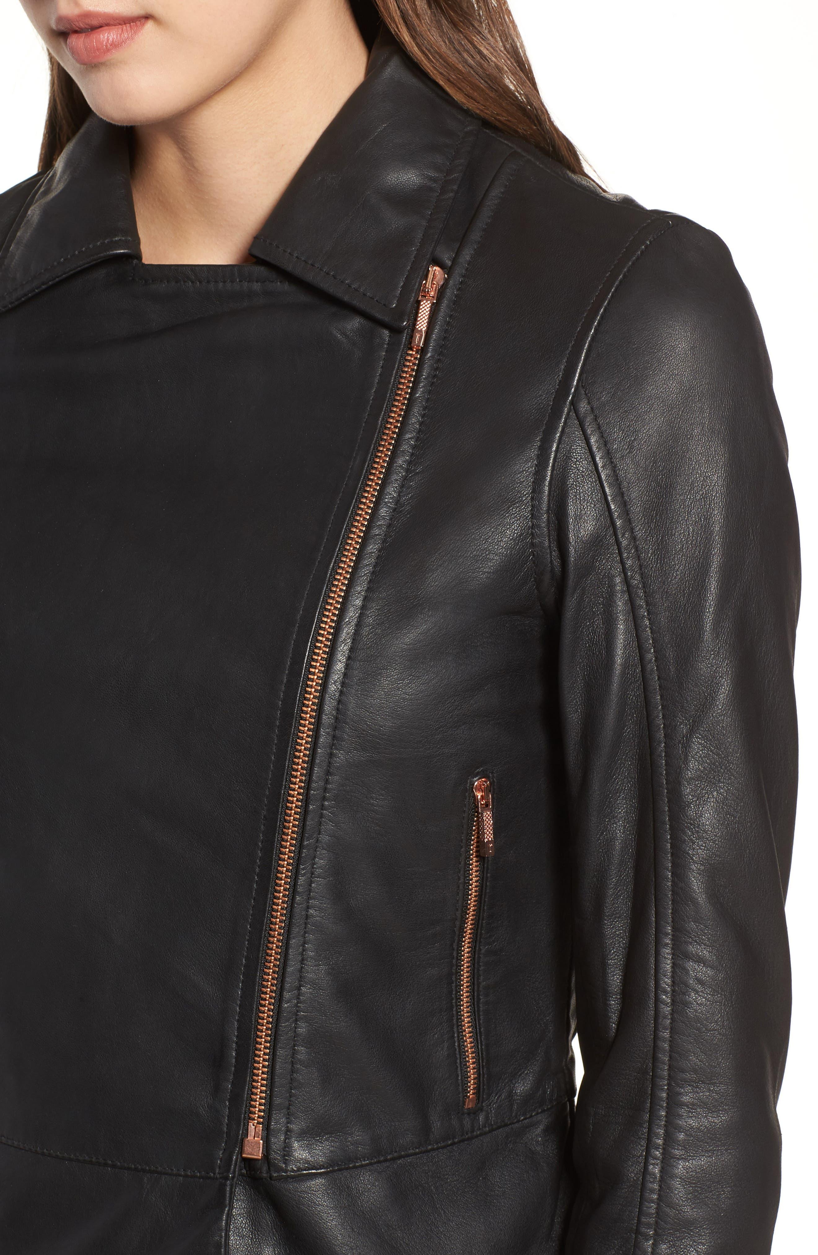 Lizia Leather Biker Jacket,                             Alternate thumbnail 4, color,                             001