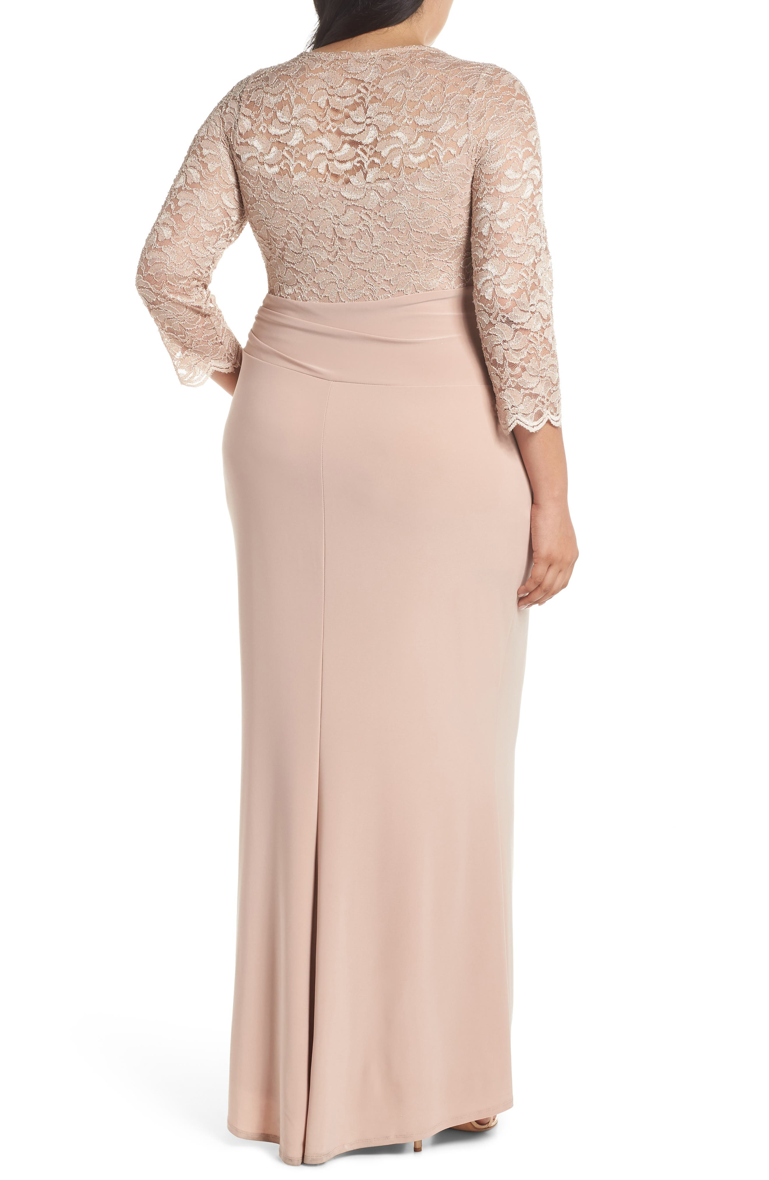 Cascade Lace & Jersey Gown,                             Alternate thumbnail 2, color,                             250