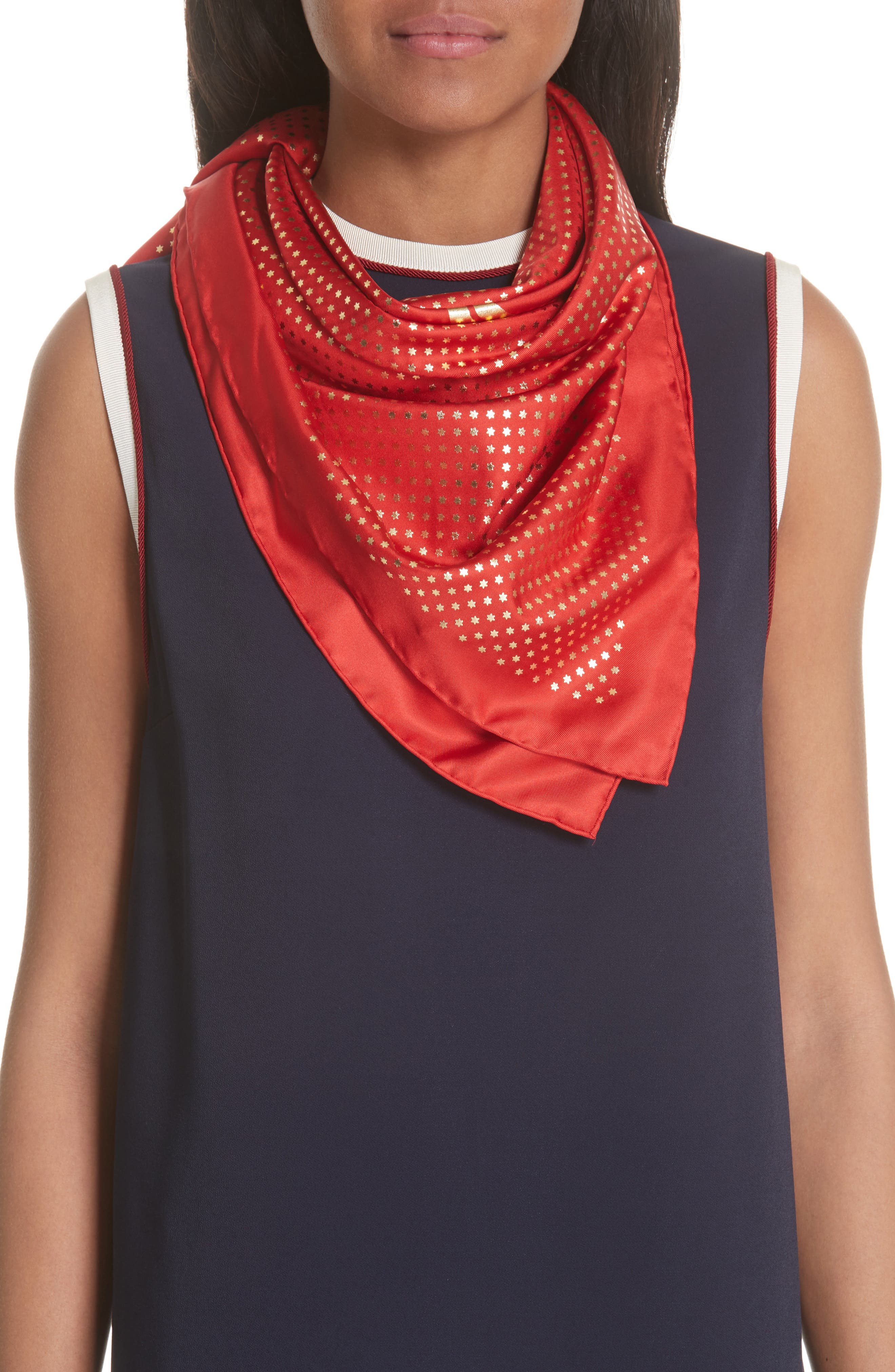 Guccy Star Foulard Silk Twill Scarf,                             Alternate thumbnail 2, color,                             FLAME