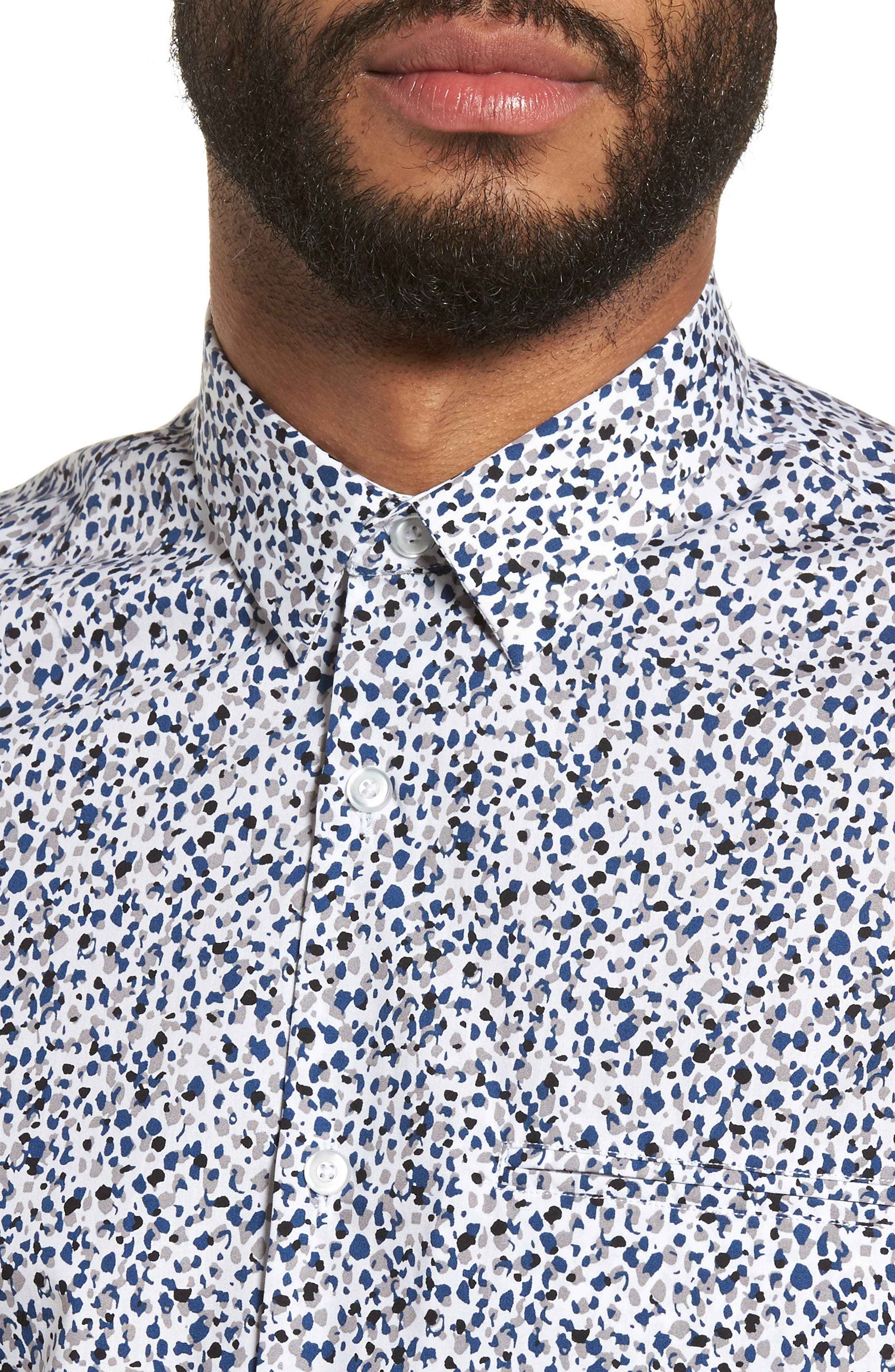 Print Welt Pocket Sport Shirt,                             Alternate thumbnail 4, color,                             WHITE BLUE SPLATTER
