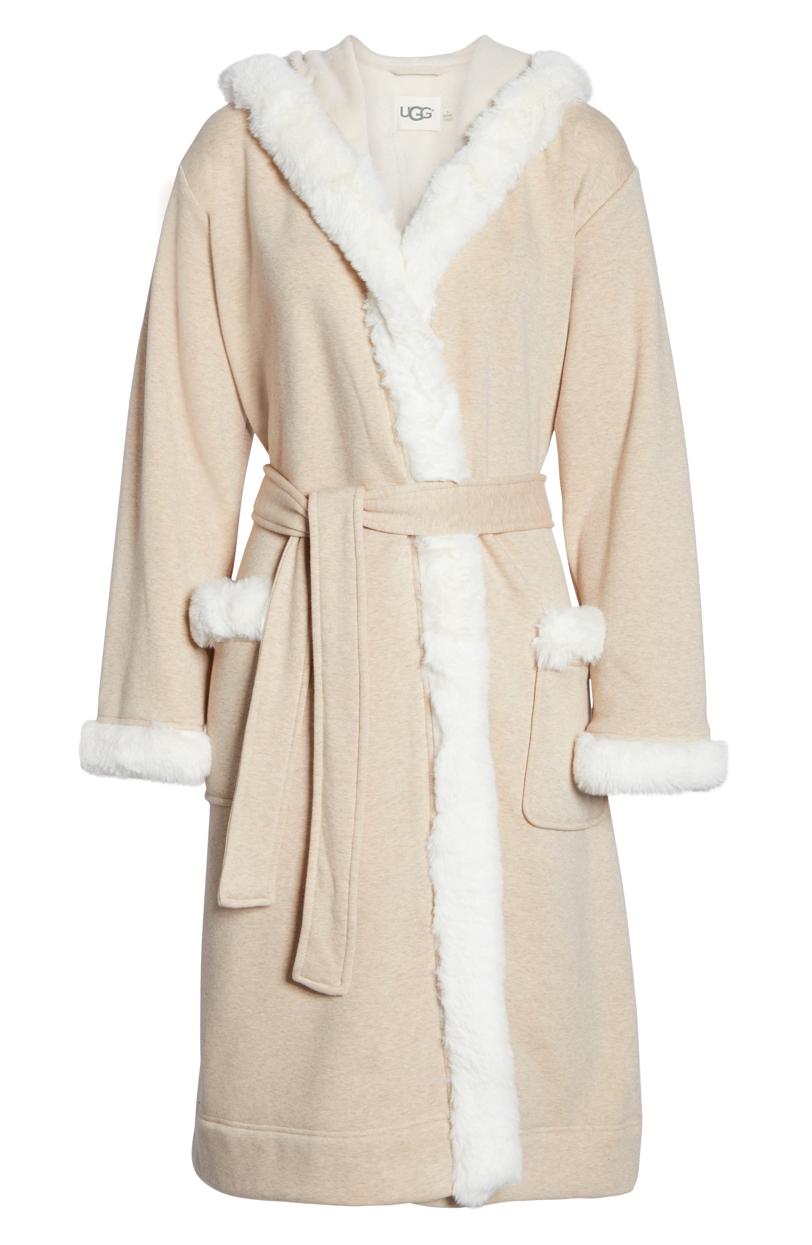 Duffield II Deluxe Faux Fur Trim Robe,                             Alternate thumbnail 6, color,                             OATMEAL HEATHER