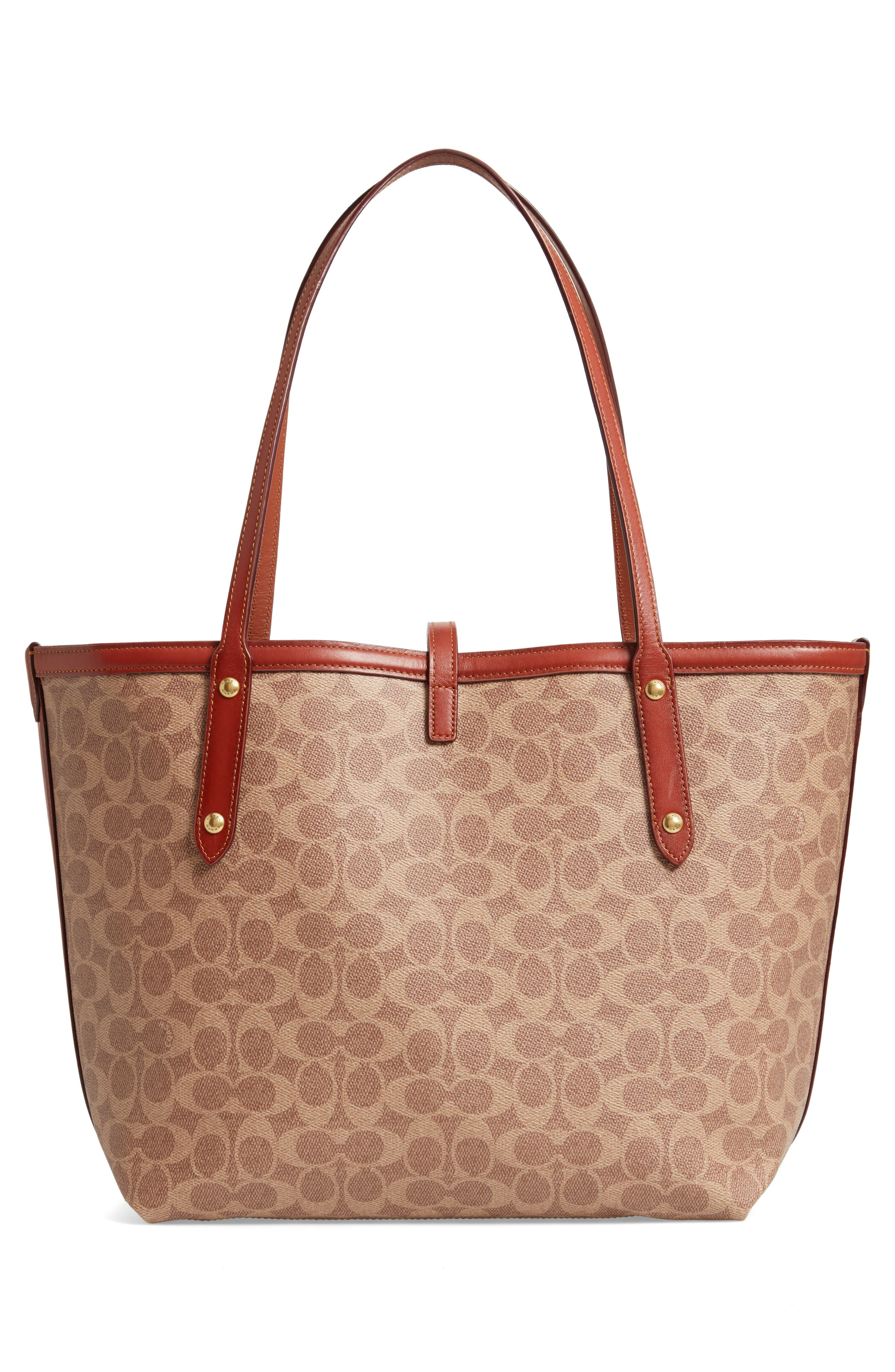 Market Logo Faux Leather Tote,                             Alternate thumbnail 3, color,                             200