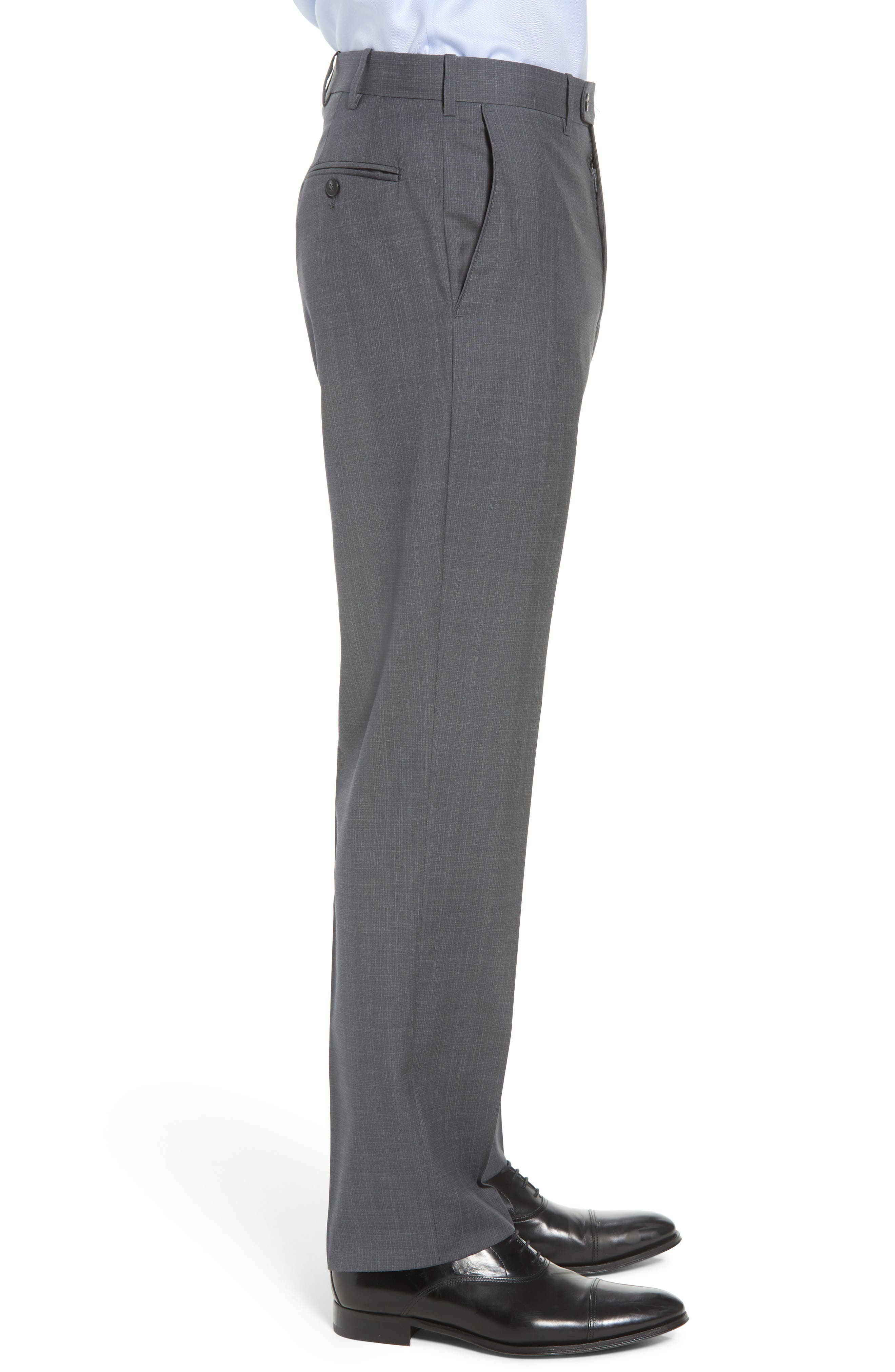 Torino Traditional Fit Flat Front Plaid Wool Trousers,                             Alternate thumbnail 3, color,                             GREY