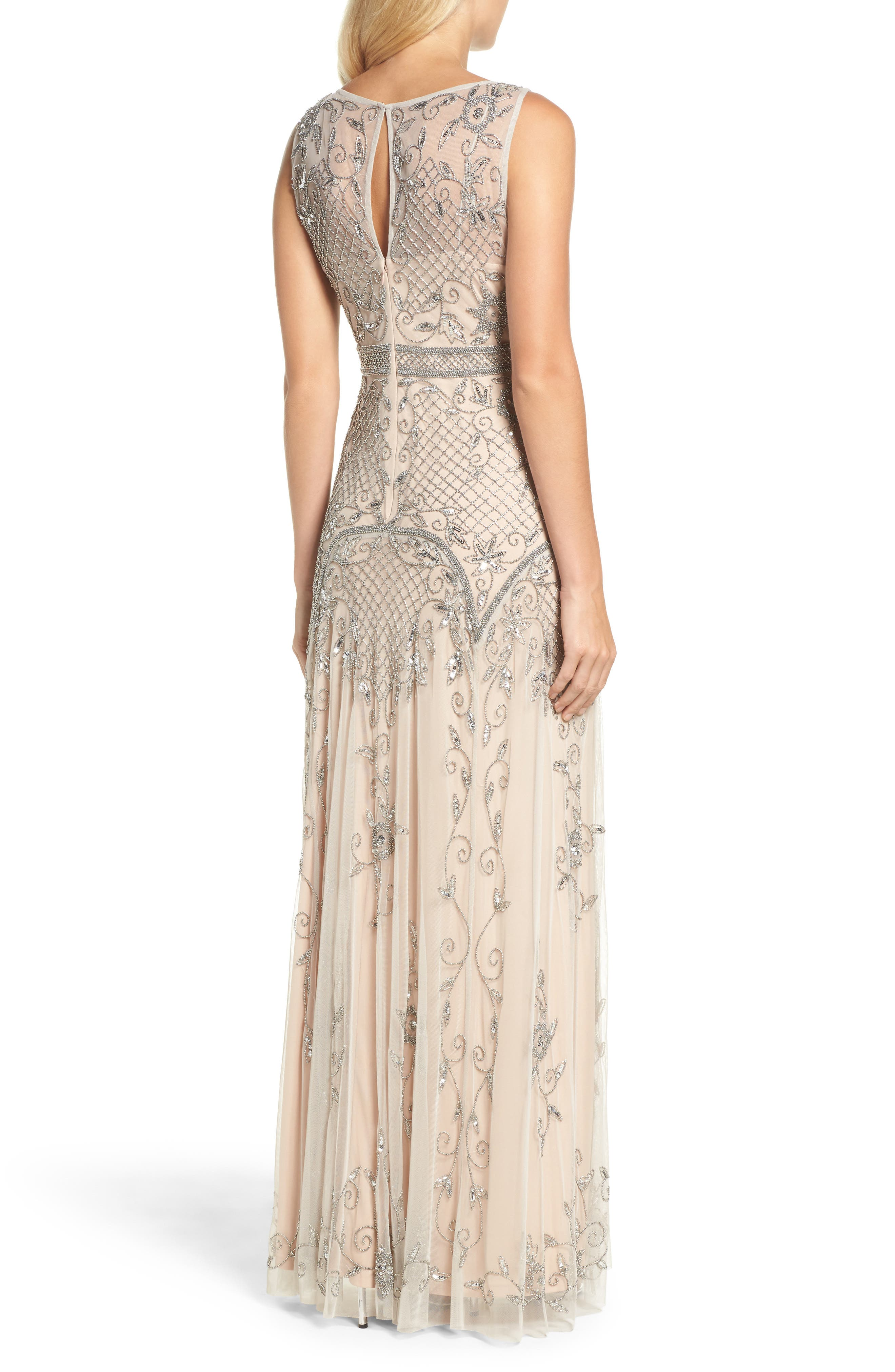 Beaded Illusion Column Gown,                             Alternate thumbnail 2, color,                             259