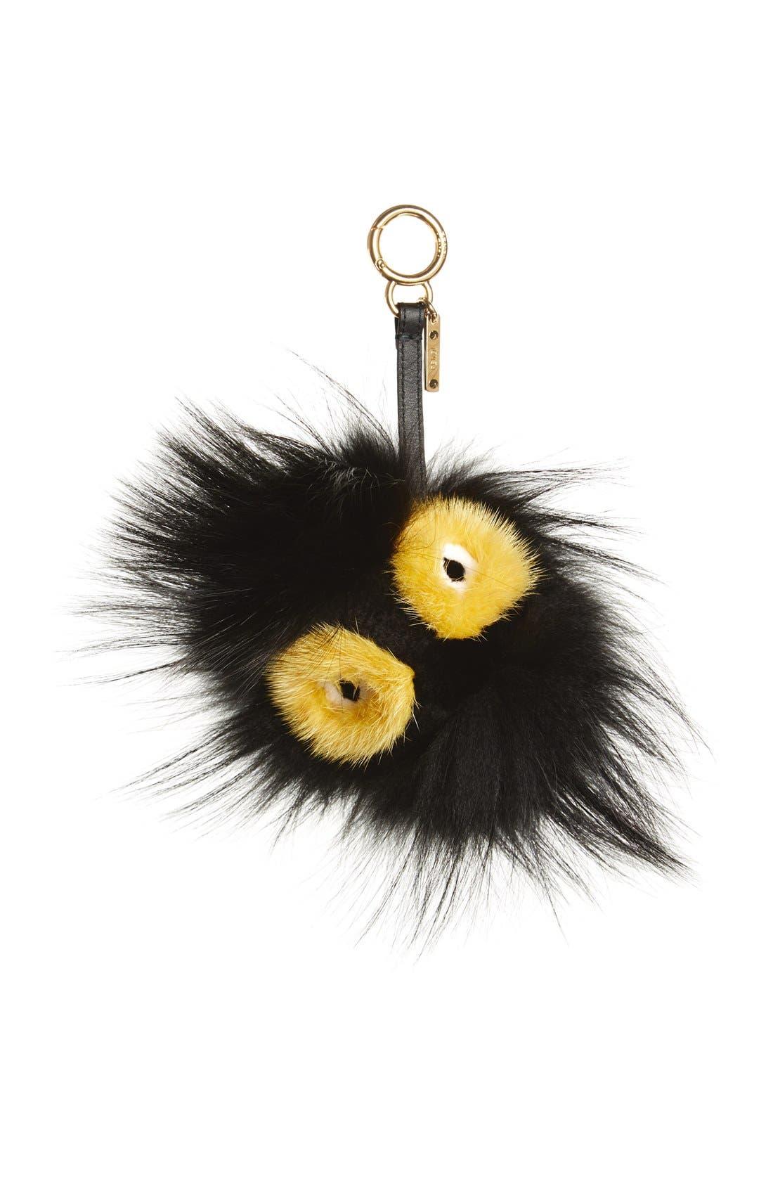 Genuine Mink Fur & Genuine Fox Fur Bag Charm, Main, color, BLACK/ YELLOW