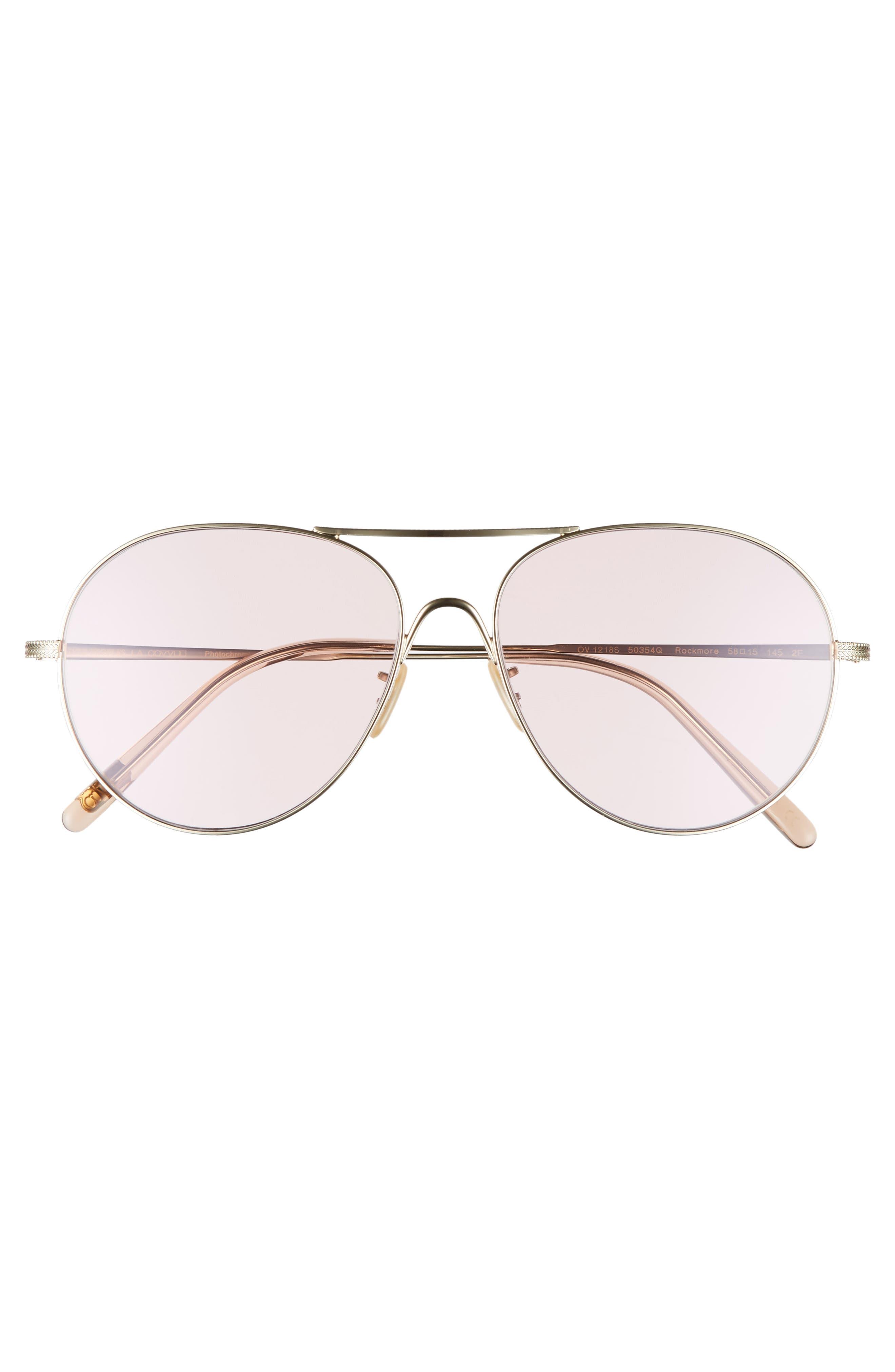 Rockmore 58mm Aviator Sunglasses,                             Alternate thumbnail 3, color,                             PINK