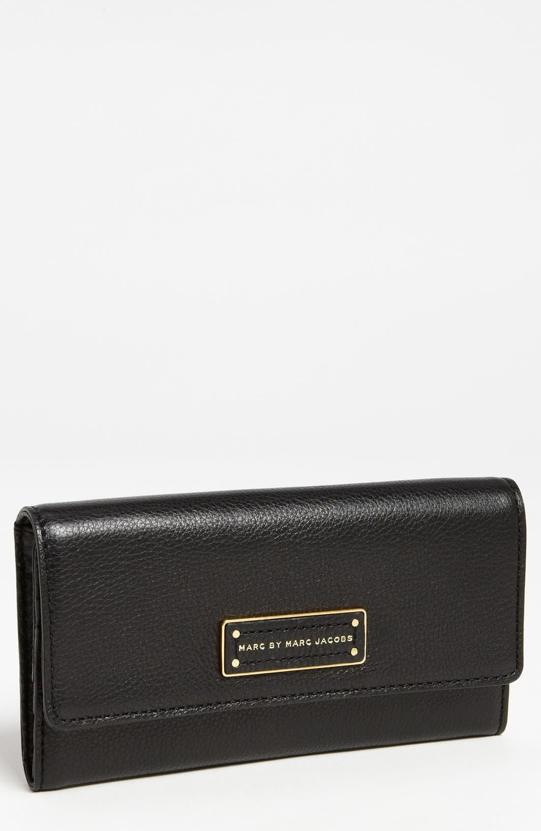 MARC JACOBS MARC BY MARC JACOBS 'Too Hot to Handle' Long Trifold Wallet, Main, color, 001