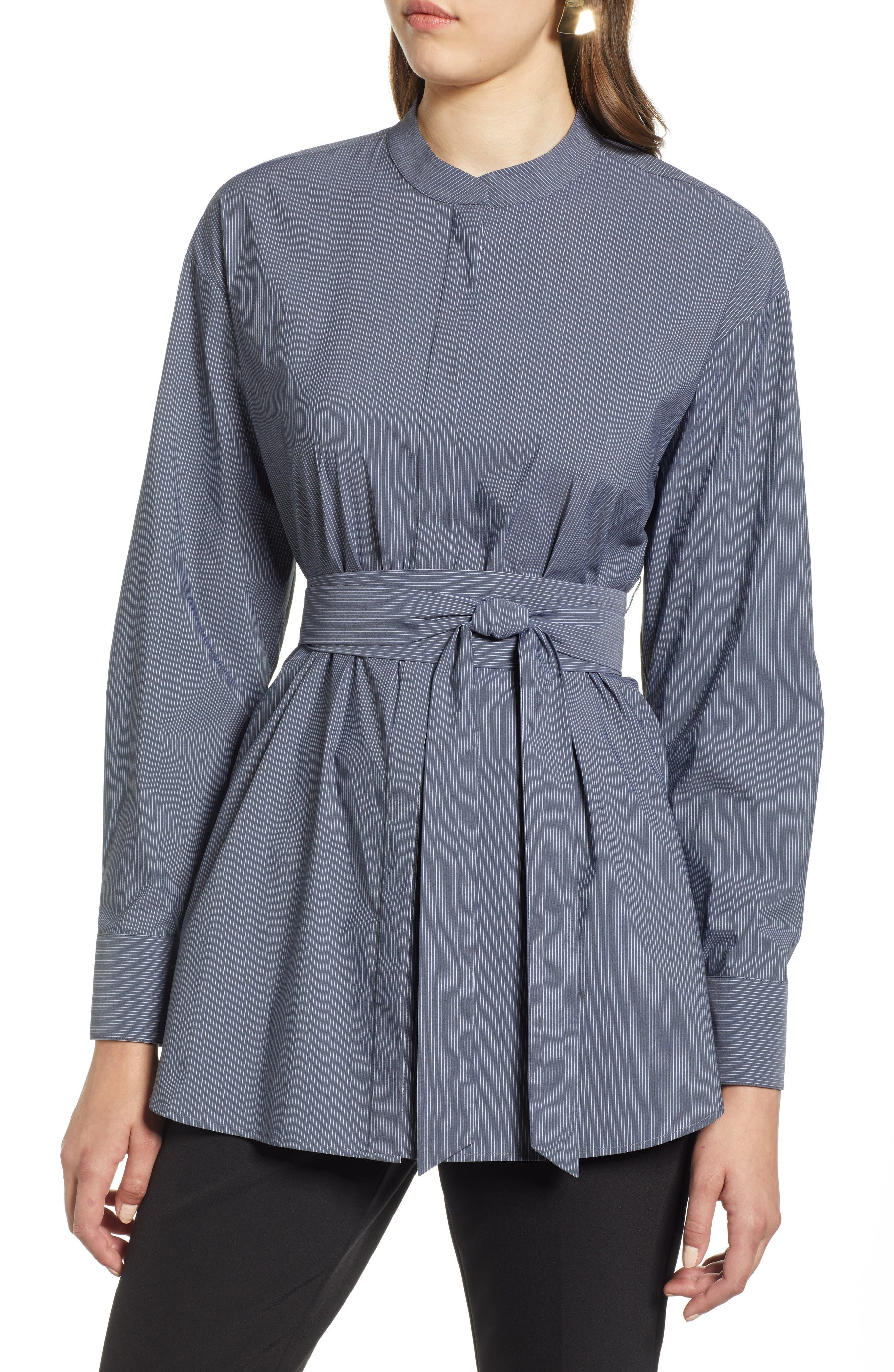 Belted Poplin Shirt,                         Main,                         color, 001