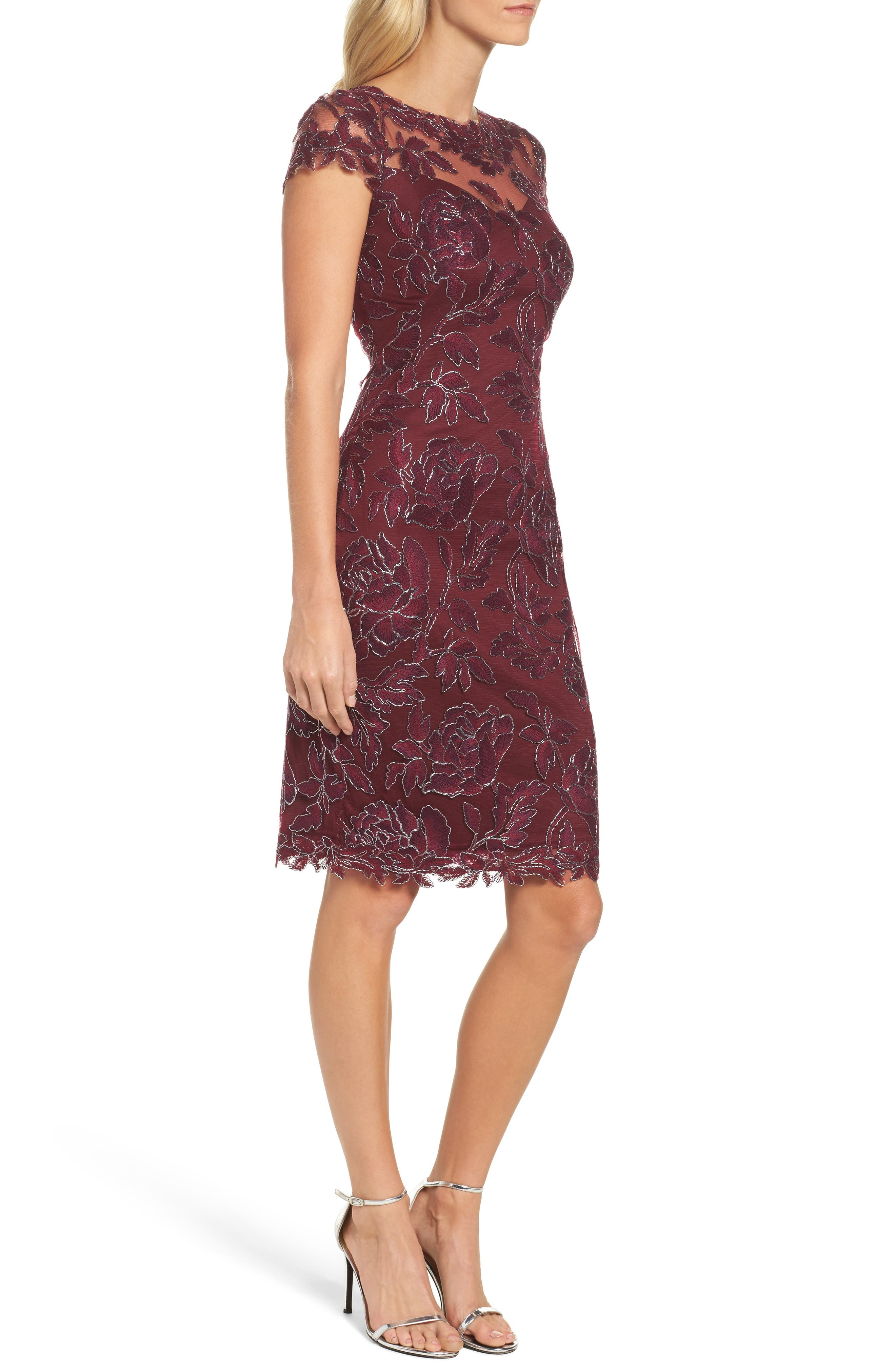 Embroidered Mesh Sheath Dress,                             Alternate thumbnail 9, color,