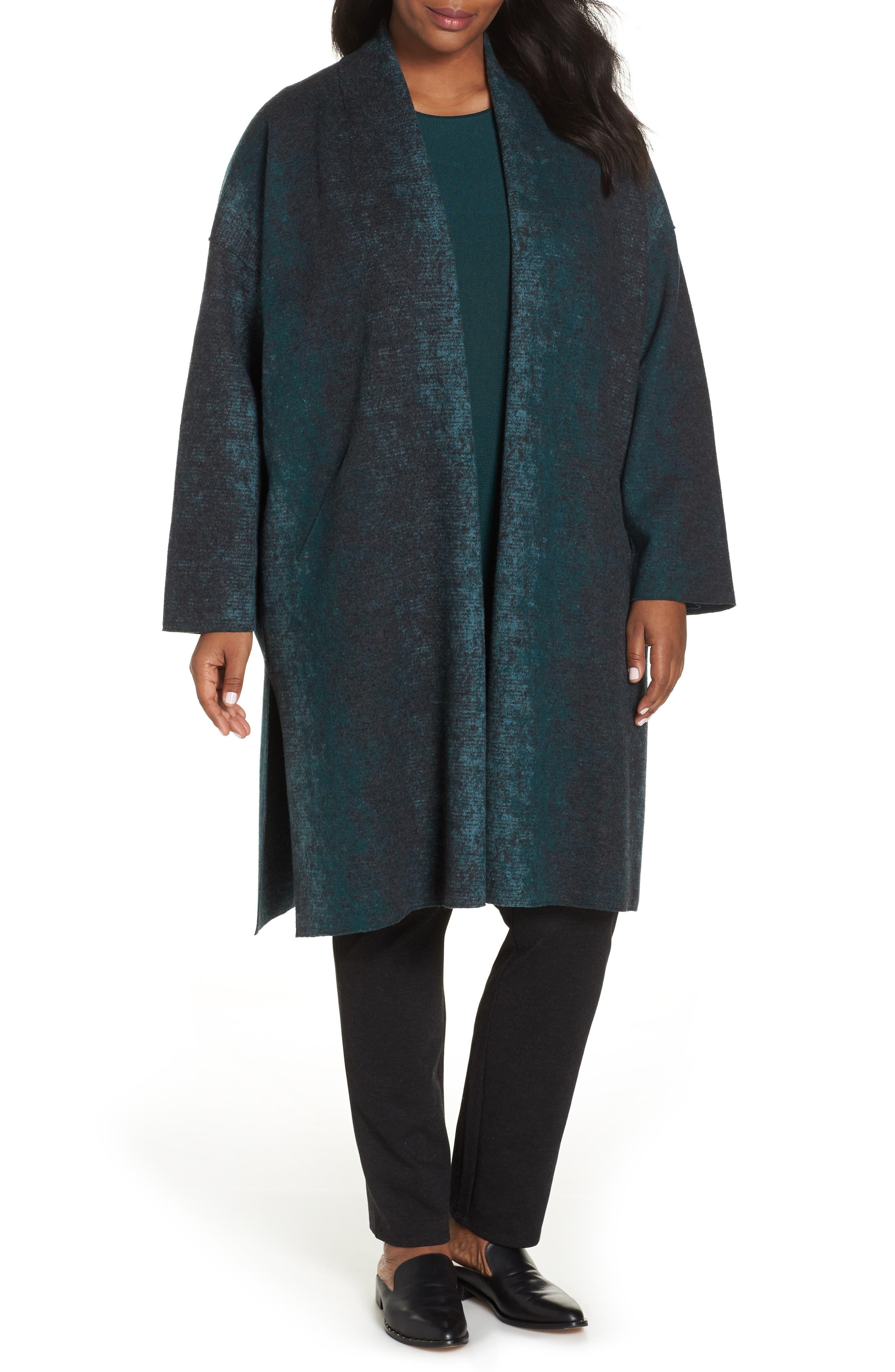 Long Wool Blend Kimono Jacket,                             Main thumbnail 1, color,                             PINE