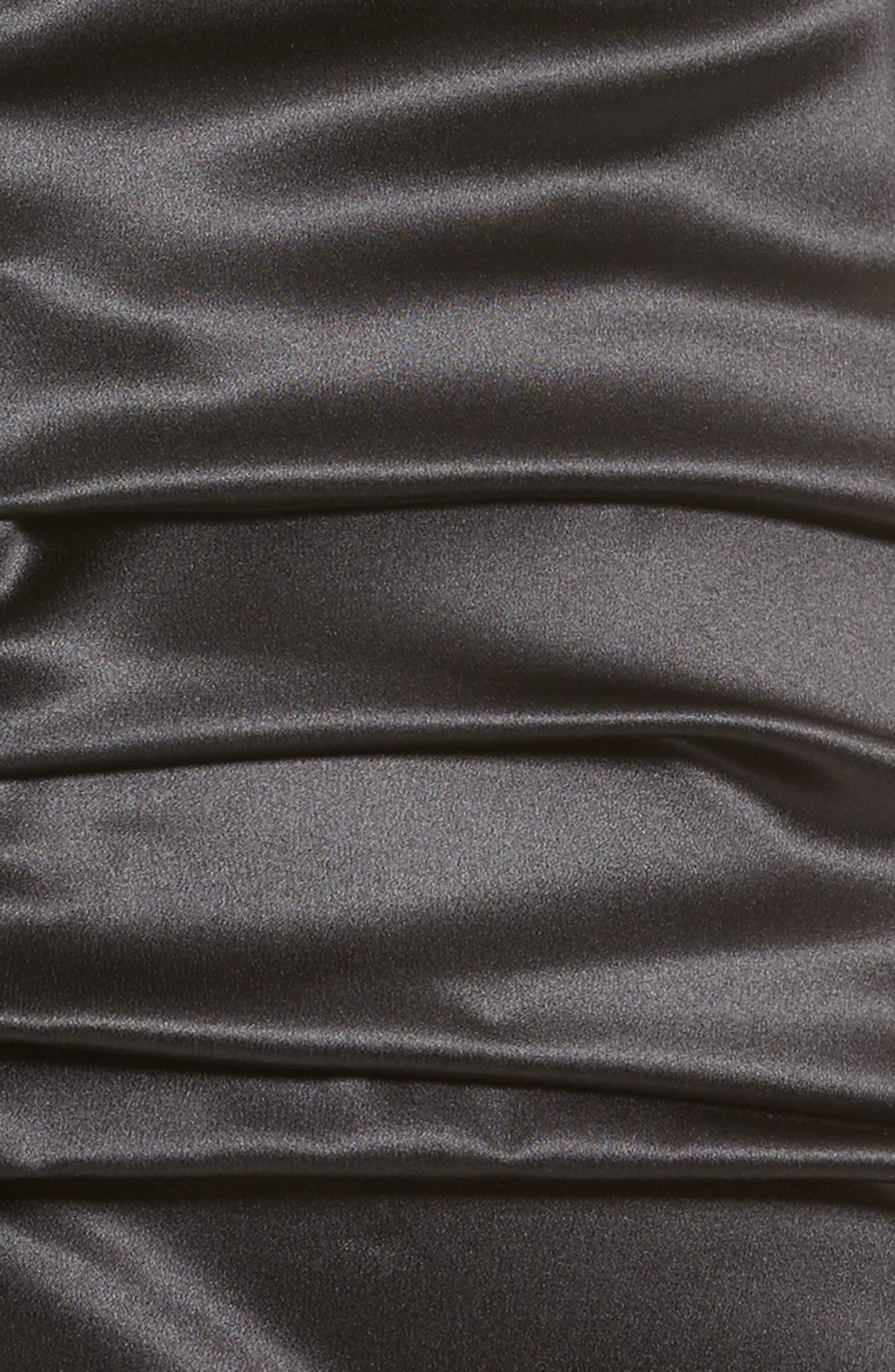 Ruched Stretch Satin Dress,                             Alternate thumbnail 6, color,                             001