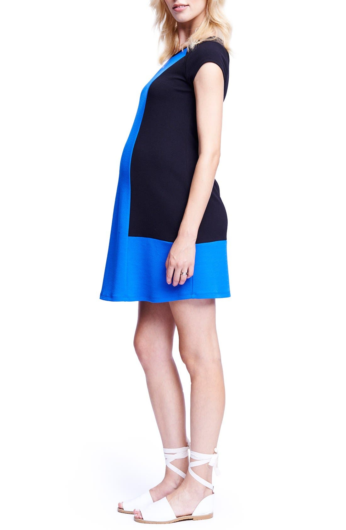 Colorblock Maternity T-Shirt Dress,                             Alternate thumbnail 3, color,                             BLACK/ ROYAL BLUE