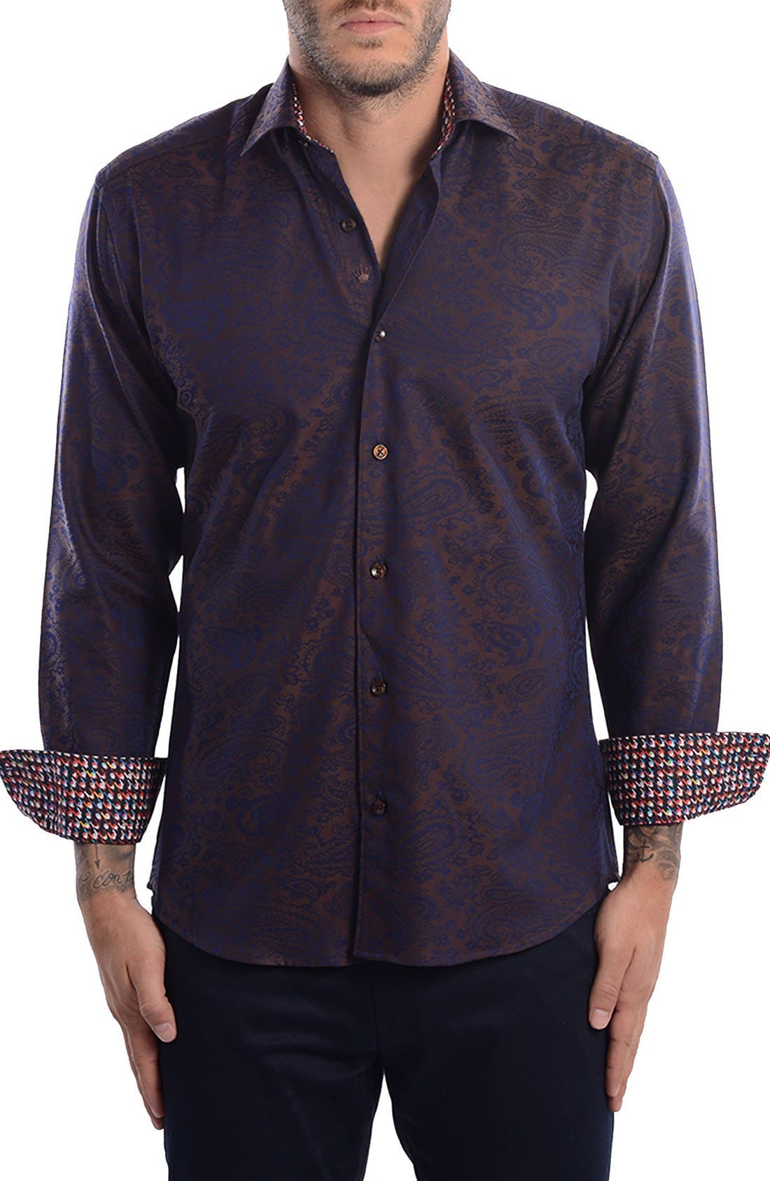 Paisley Modern Fit Sport Shirt,                         Main,                         color, 201