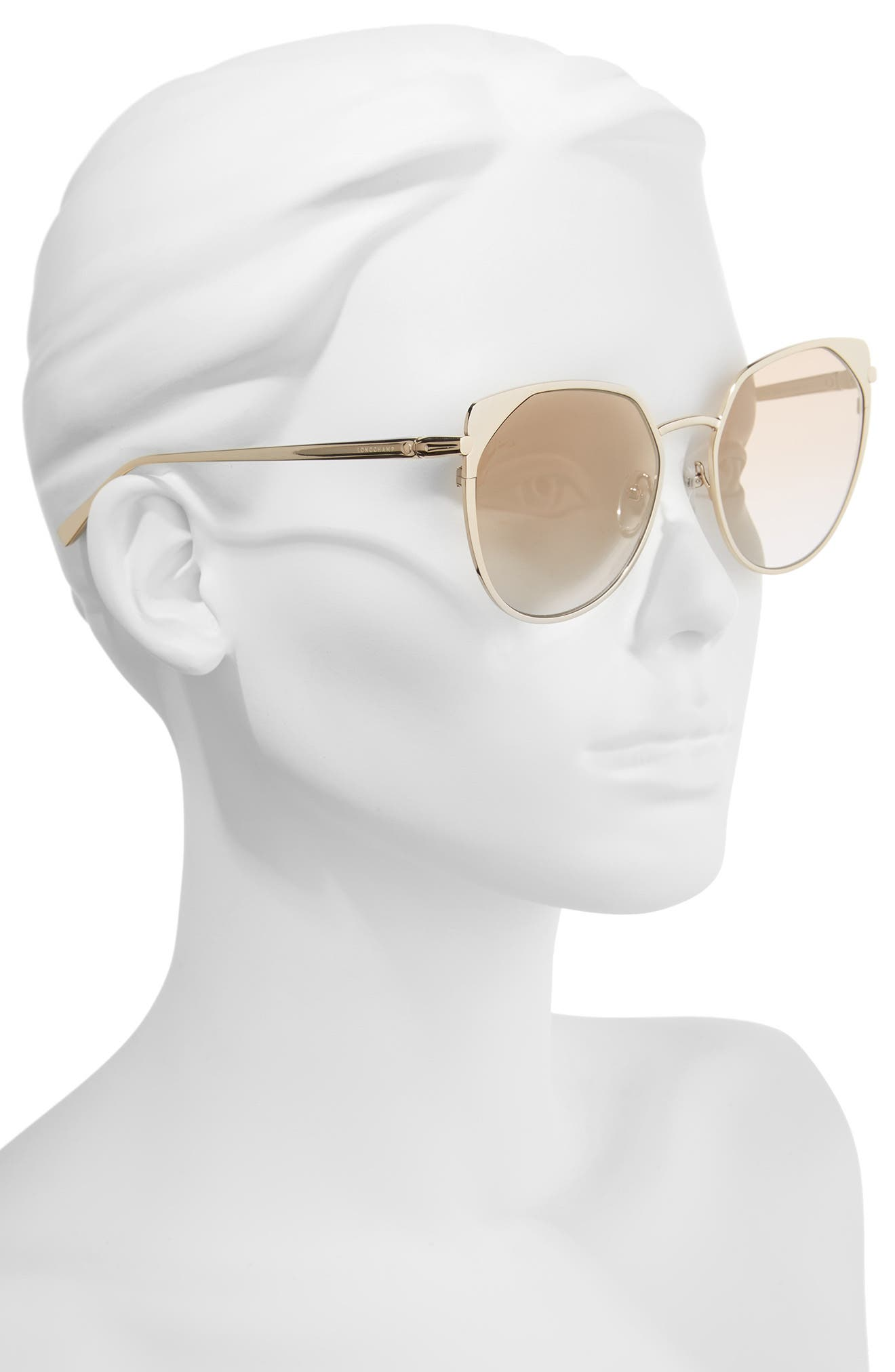 58mm Rounded Cat Eye Sunglasses,                             Alternate thumbnail 2, color,                             GOLD