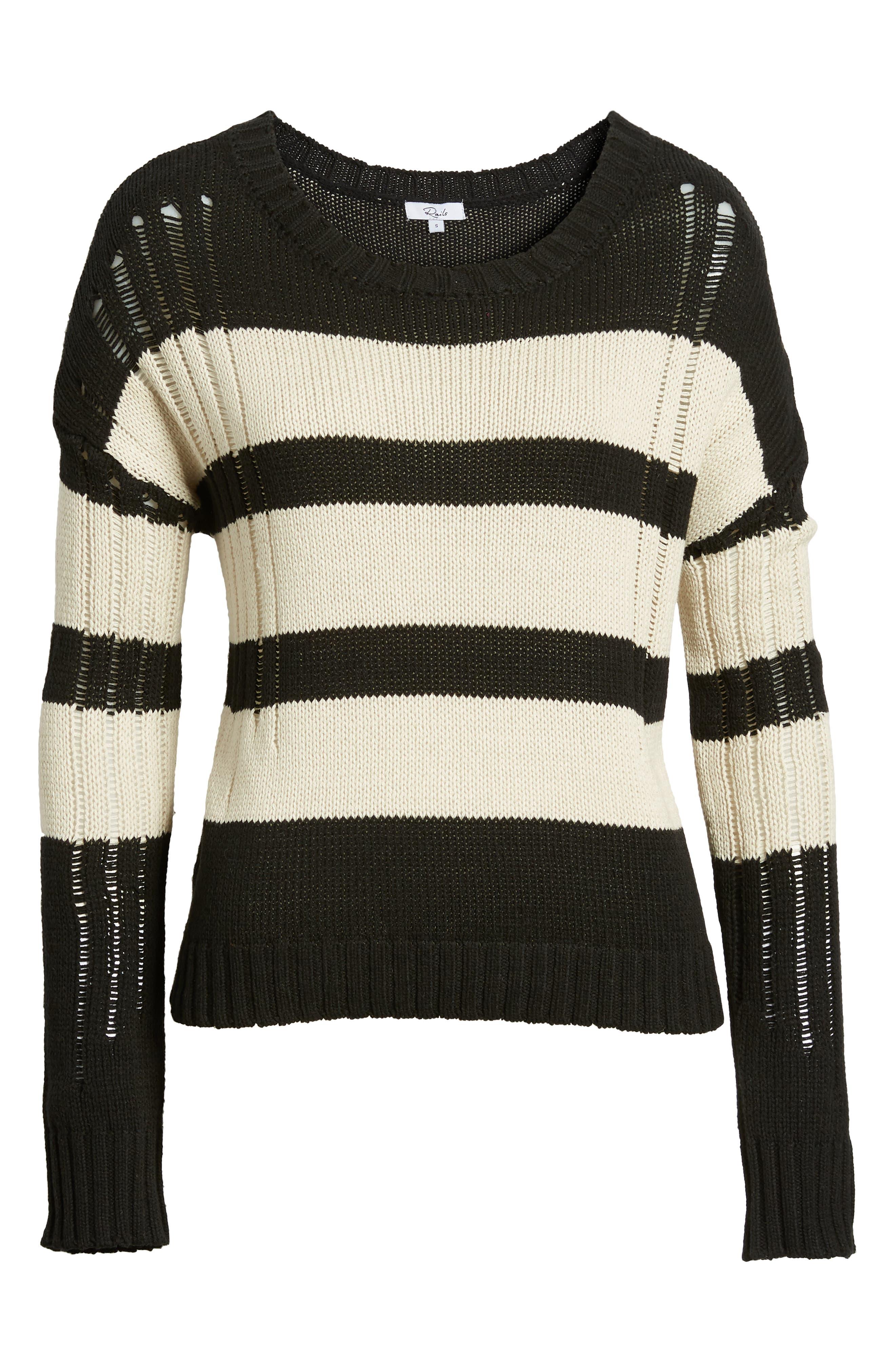 Tia Sweater,                             Alternate thumbnail 6, color,                             BLACK TAN STRIPE