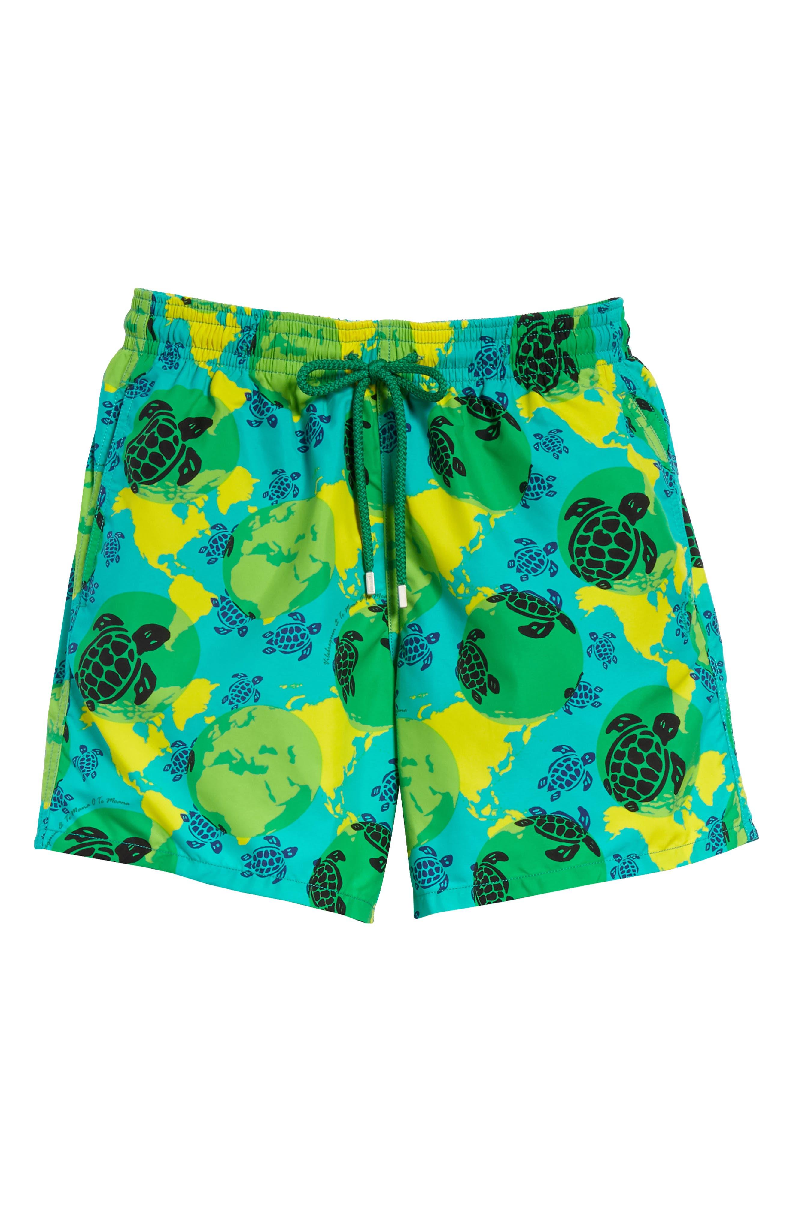 Eco Turtle Print Swim Trunks,                             Alternate thumbnail 6, color,                             VERONESE GREEN