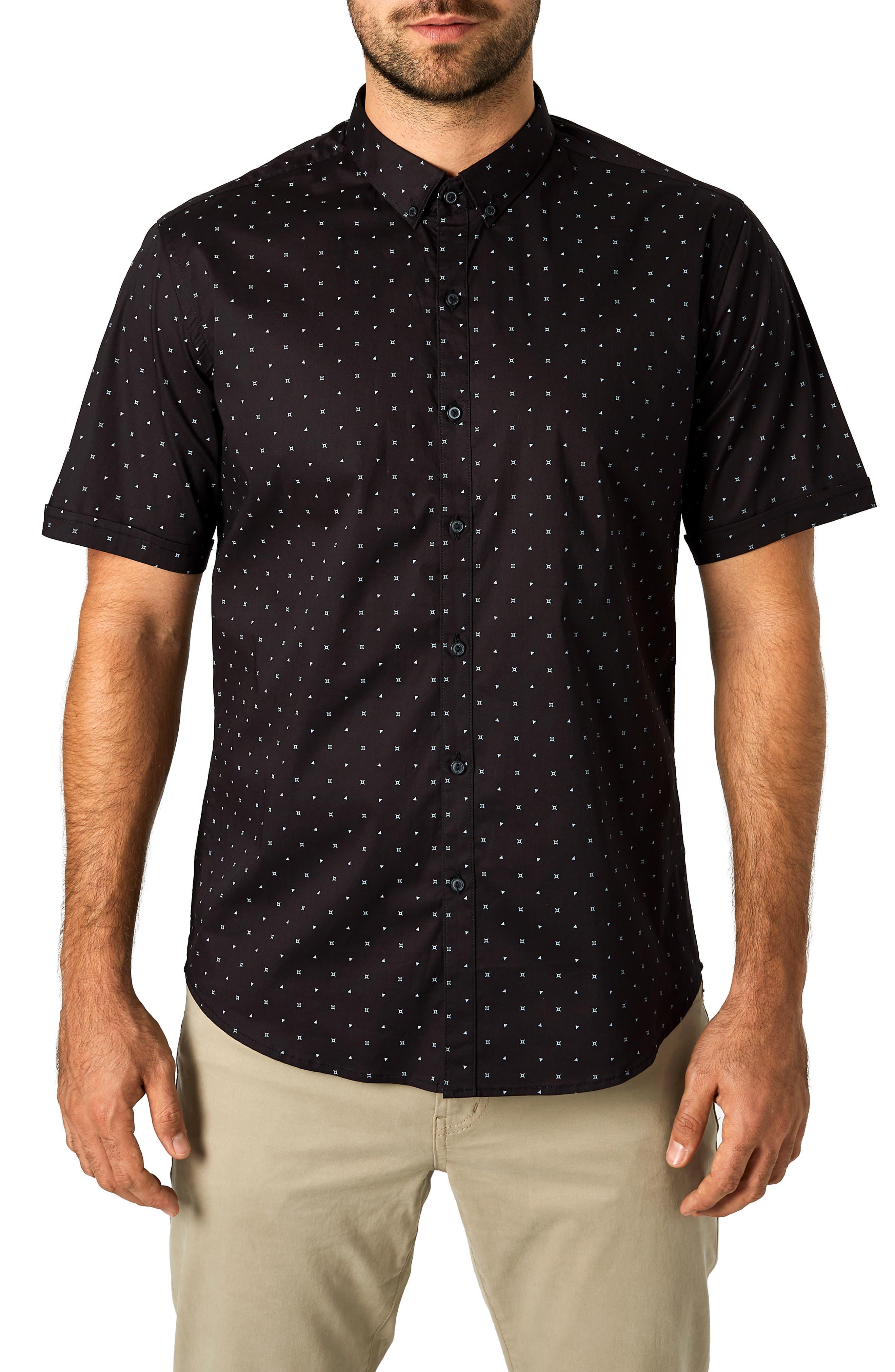 Casual Fiasco Trim Fit Sport Shirt,                             Main thumbnail 1, color,                             BLACK