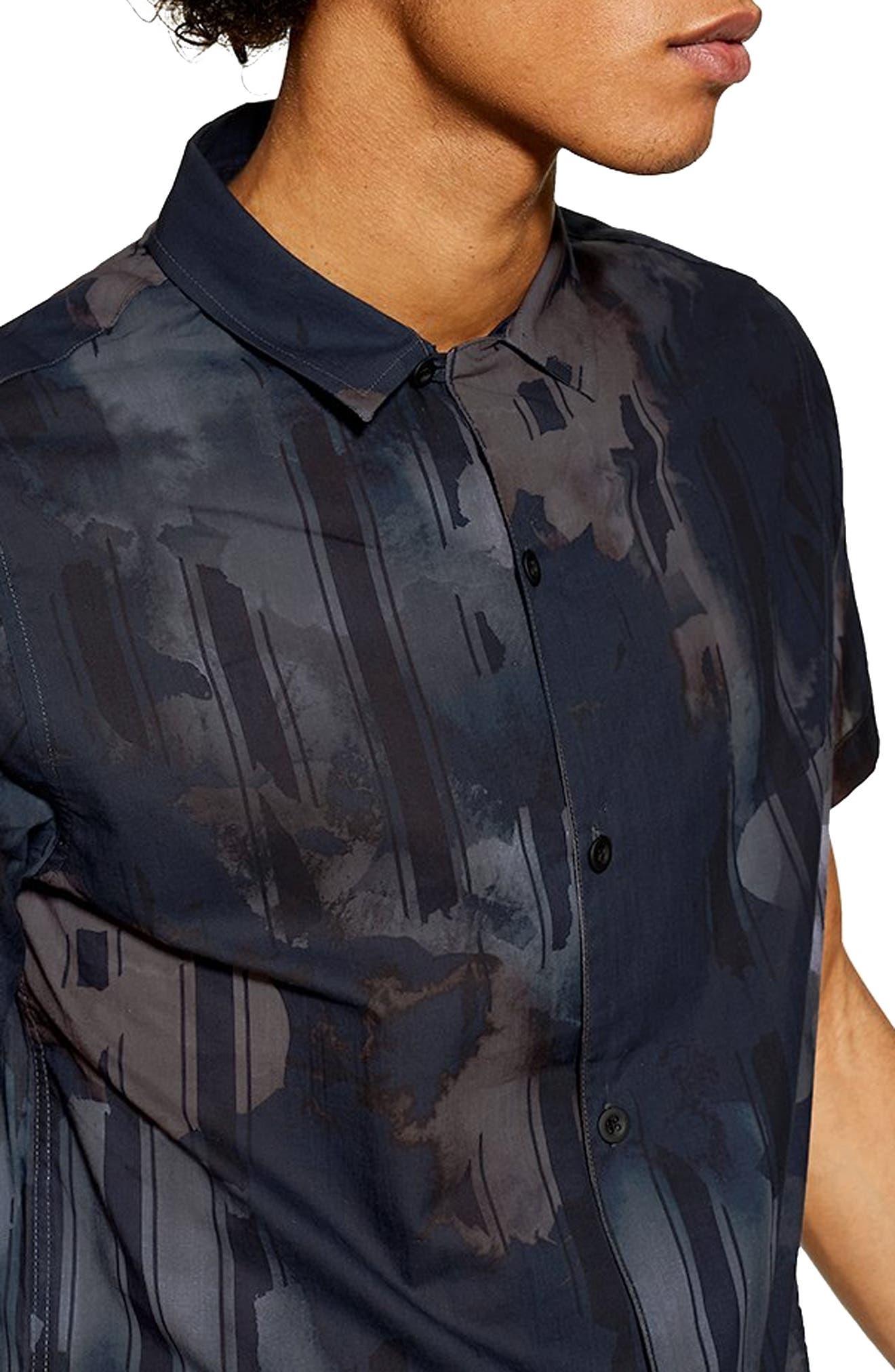 Floral Print Revere Shirt,                             Alternate thumbnail 2, color,                             NAVY MULTI