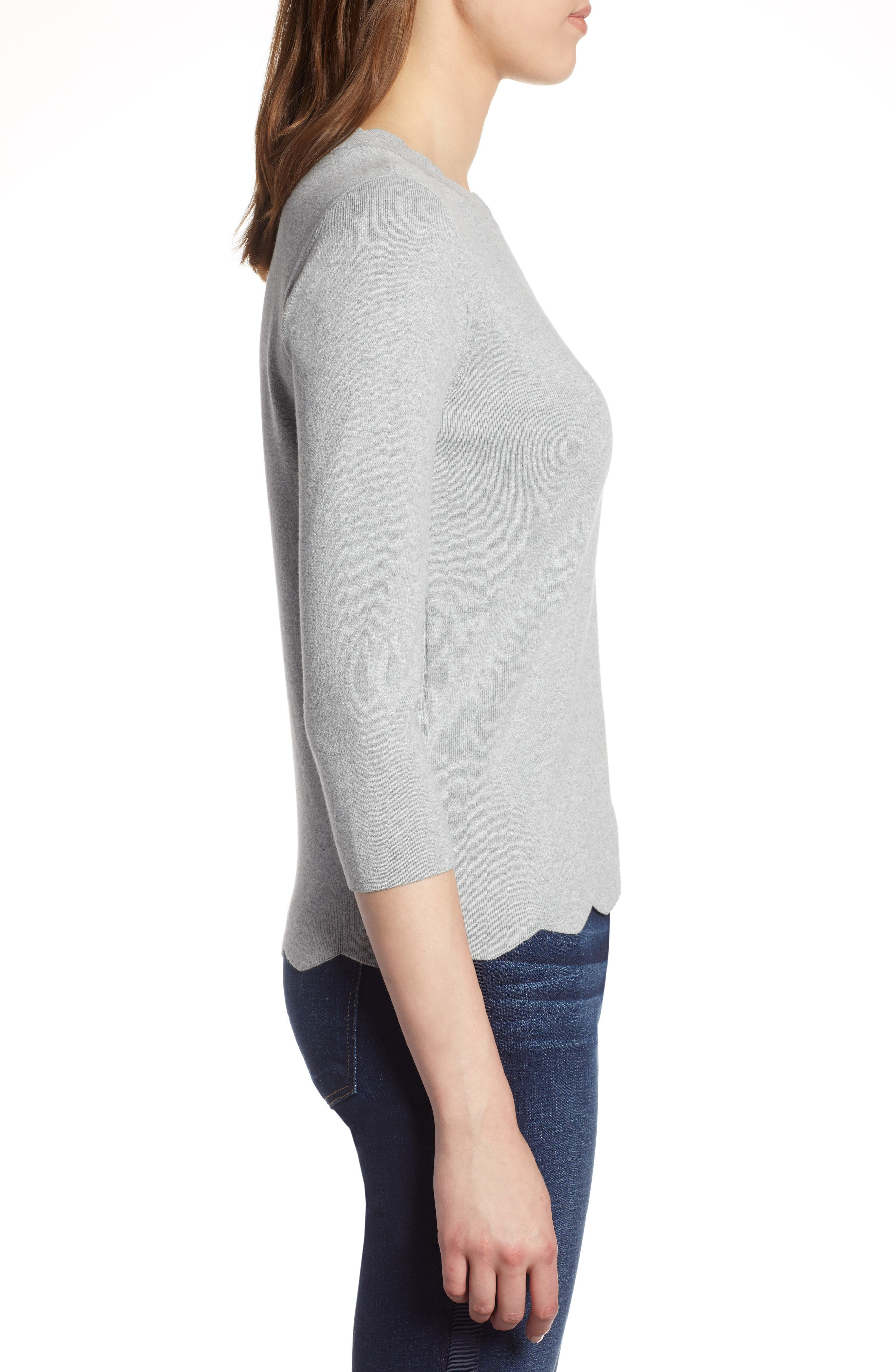 Halogen Scallop Edge Sweater,                             Alternate thumbnail 3, color,                             030