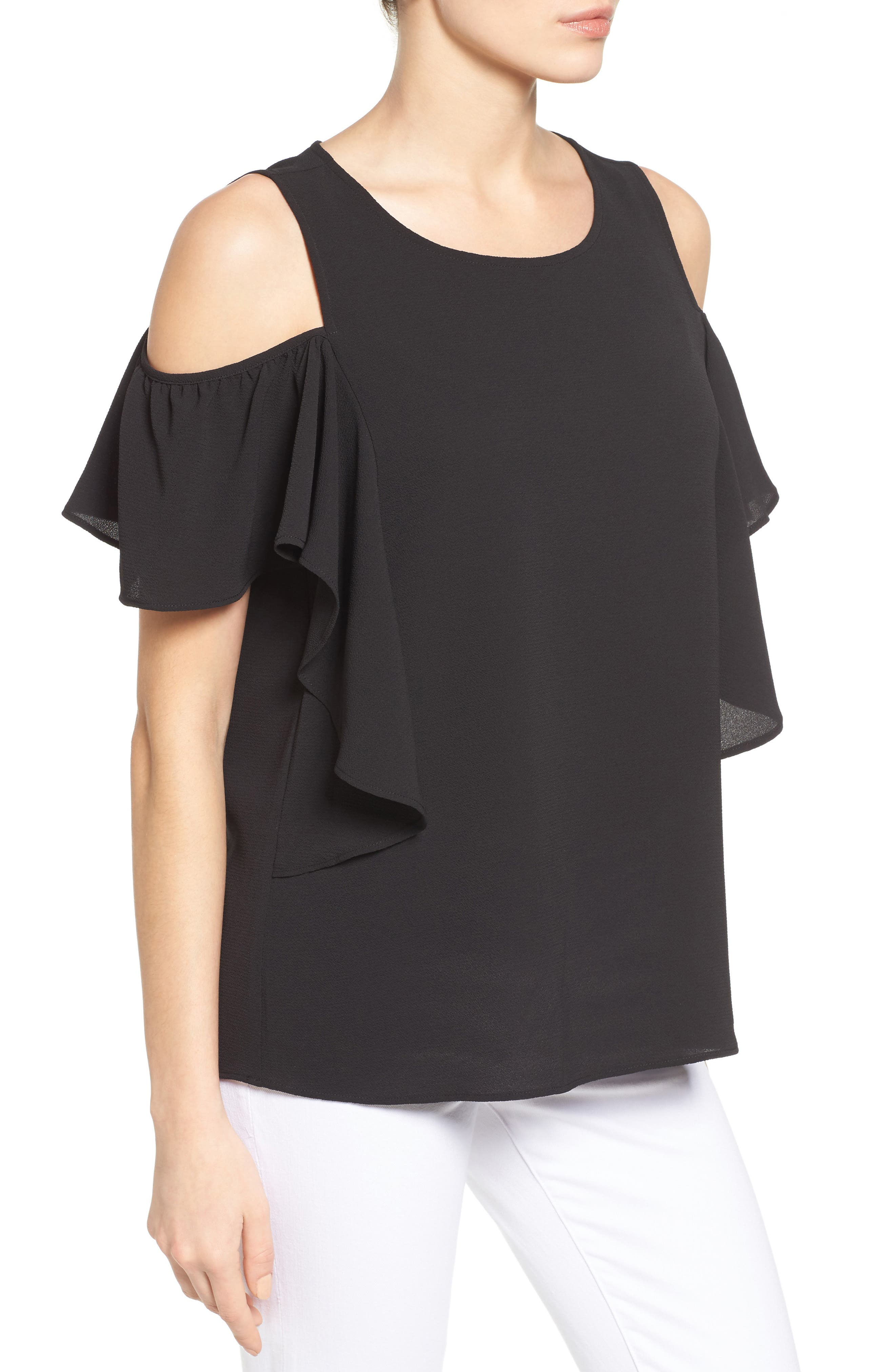 Cold Shoulder Ruffle Sleeve Top,                             Alternate thumbnail 3, color,                             015