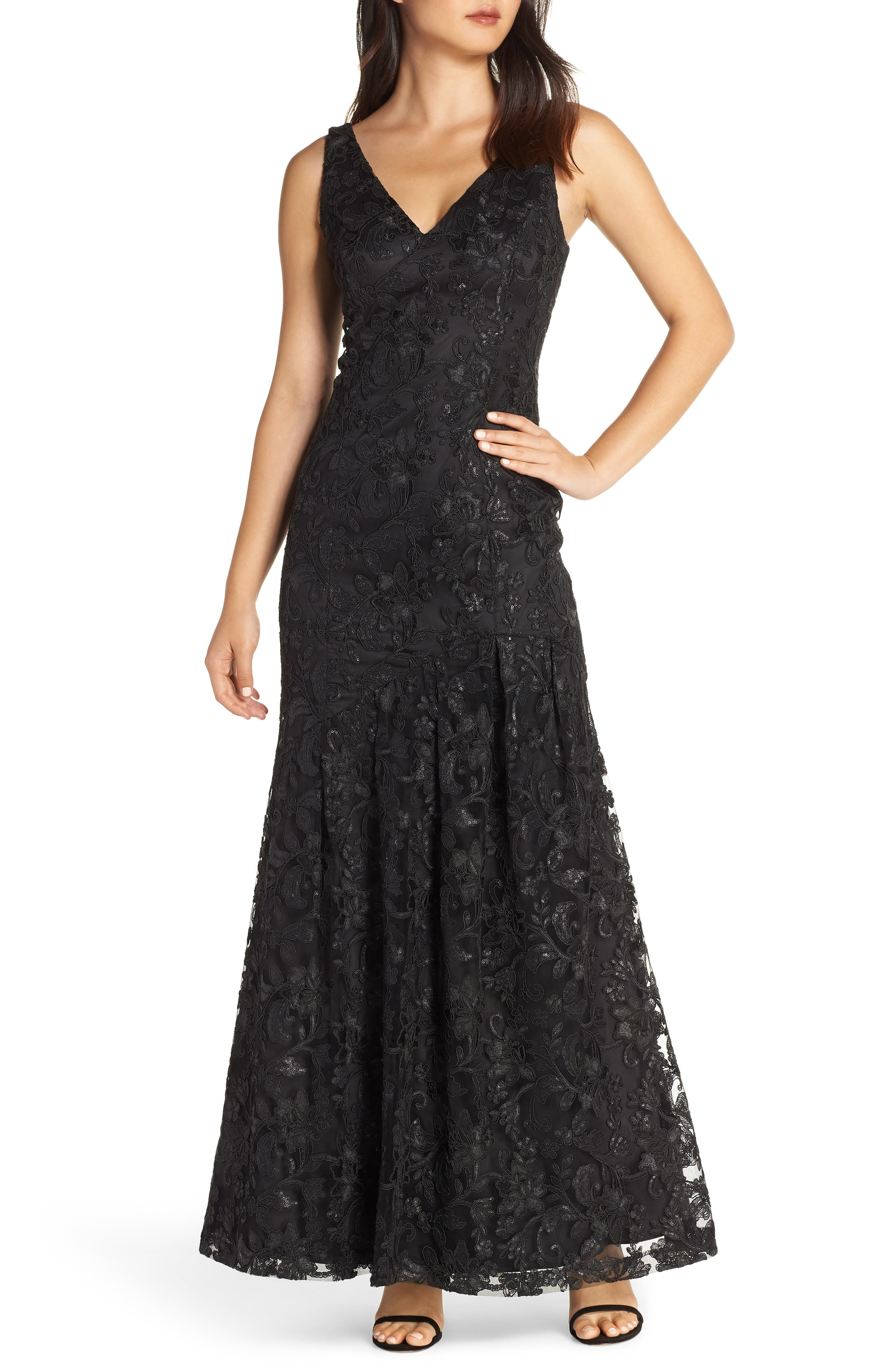 Vince Camuto Lace Asymmetrical Gown, Black