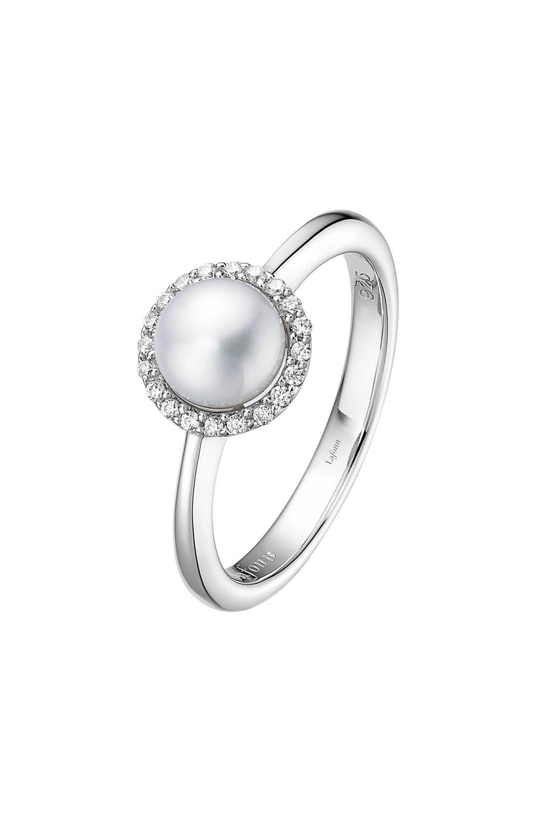 Birthstone Halo Ring, Main, color, JUNE PEARL / SILVER