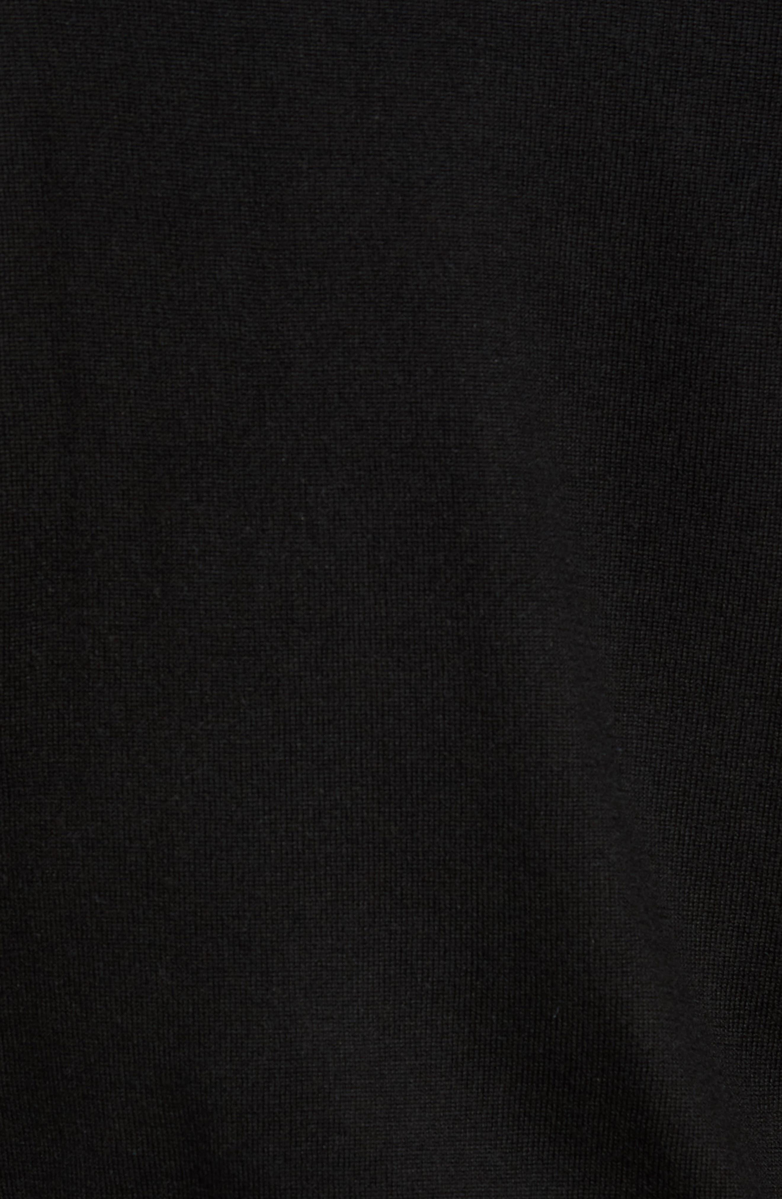 Crown Soft Merino Wool & Silk Crewneck Sweater,                             Alternate thumbnail 5, color,                             001