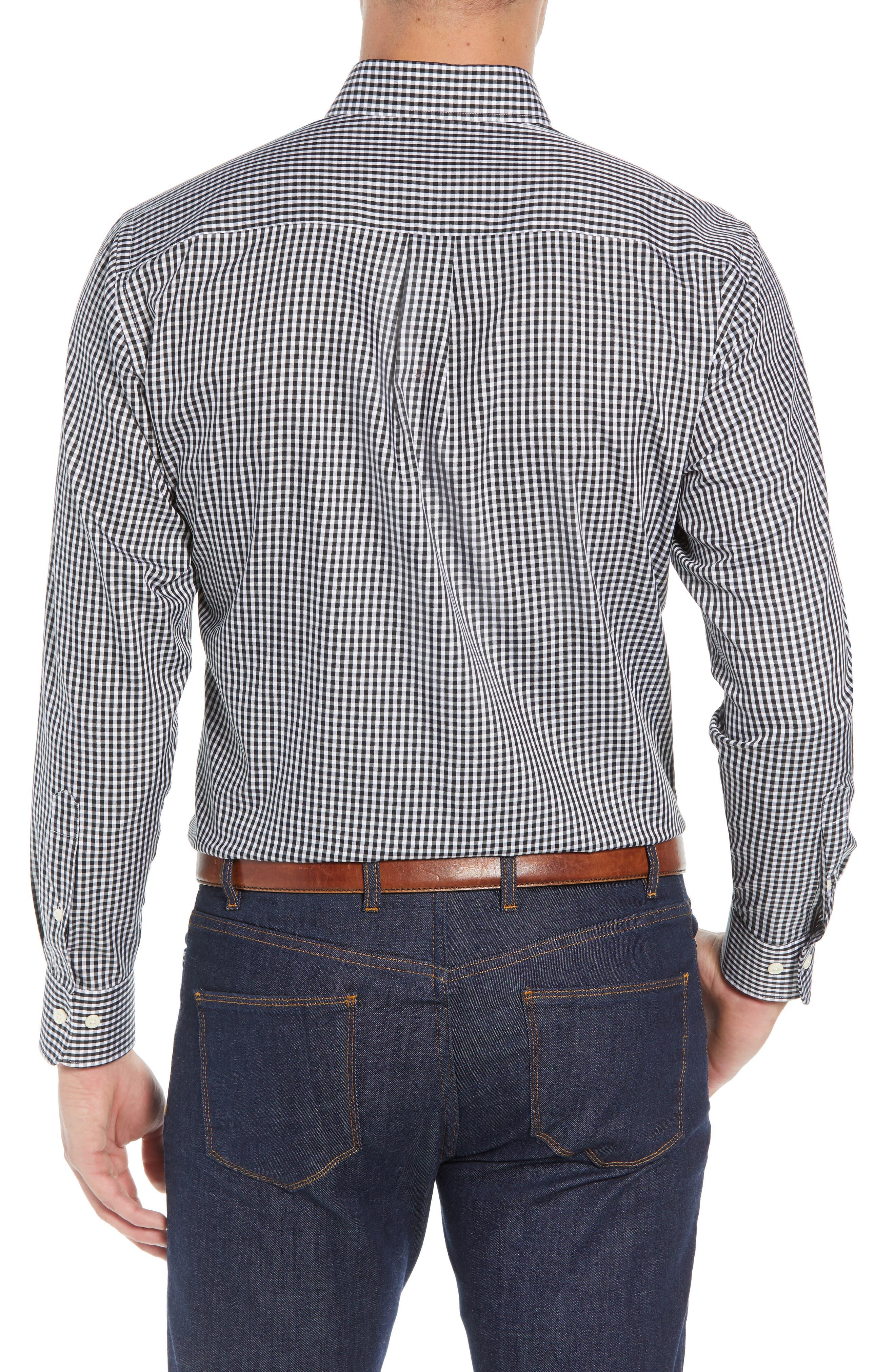 Crown Soft Gingham Regular Fit Sport Shirt,                             Alternate thumbnail 3, color,                             BLACK